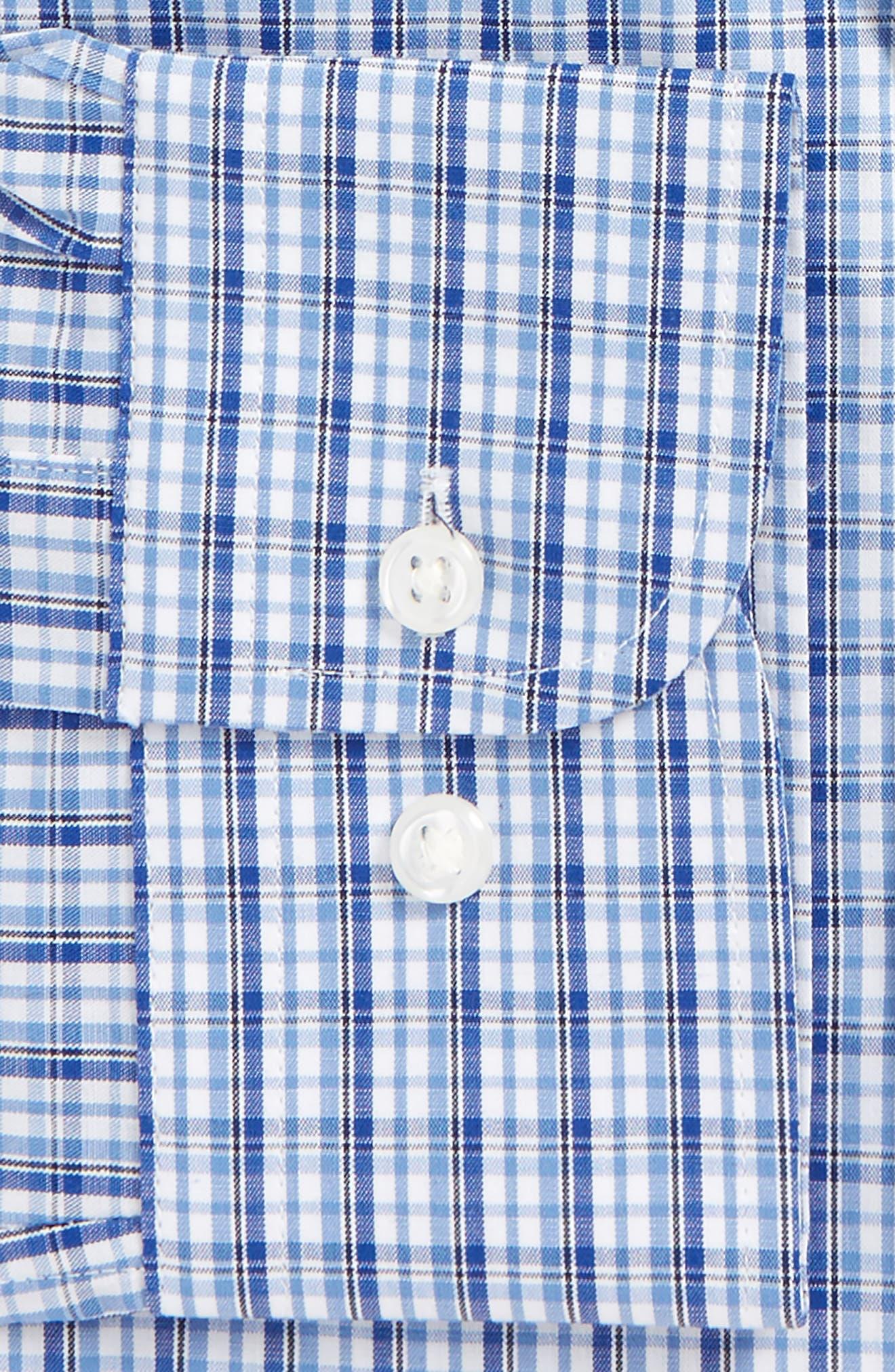 Tech-Smart Traditional Fit Stretch Plaid Dress Shirt,                             Alternate thumbnail 4, color,                             Blue True
