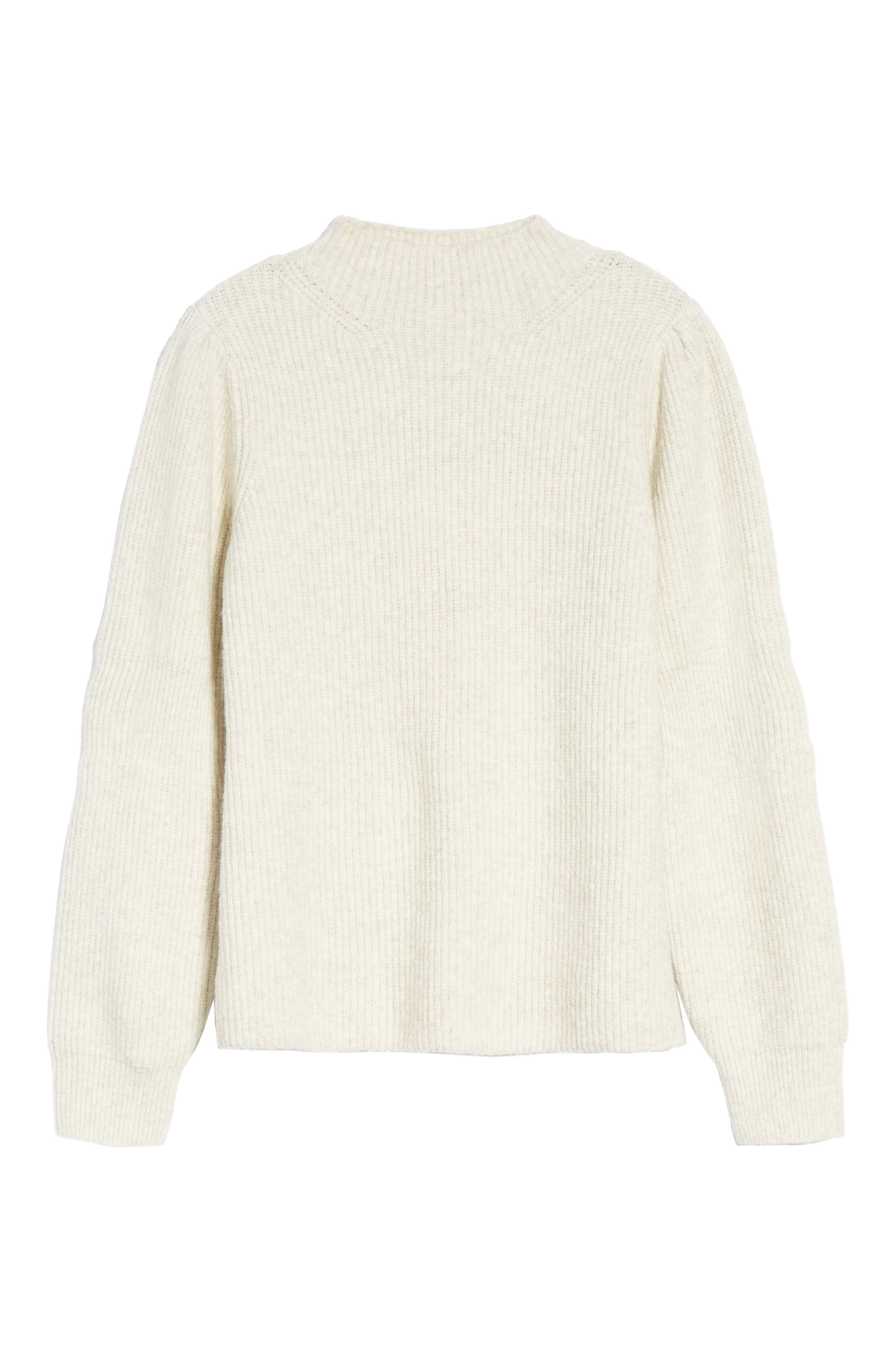 Ribbed Mock Neck Sweater,                             Alternate thumbnail 6, color,                             Beige Oatmeal Heather