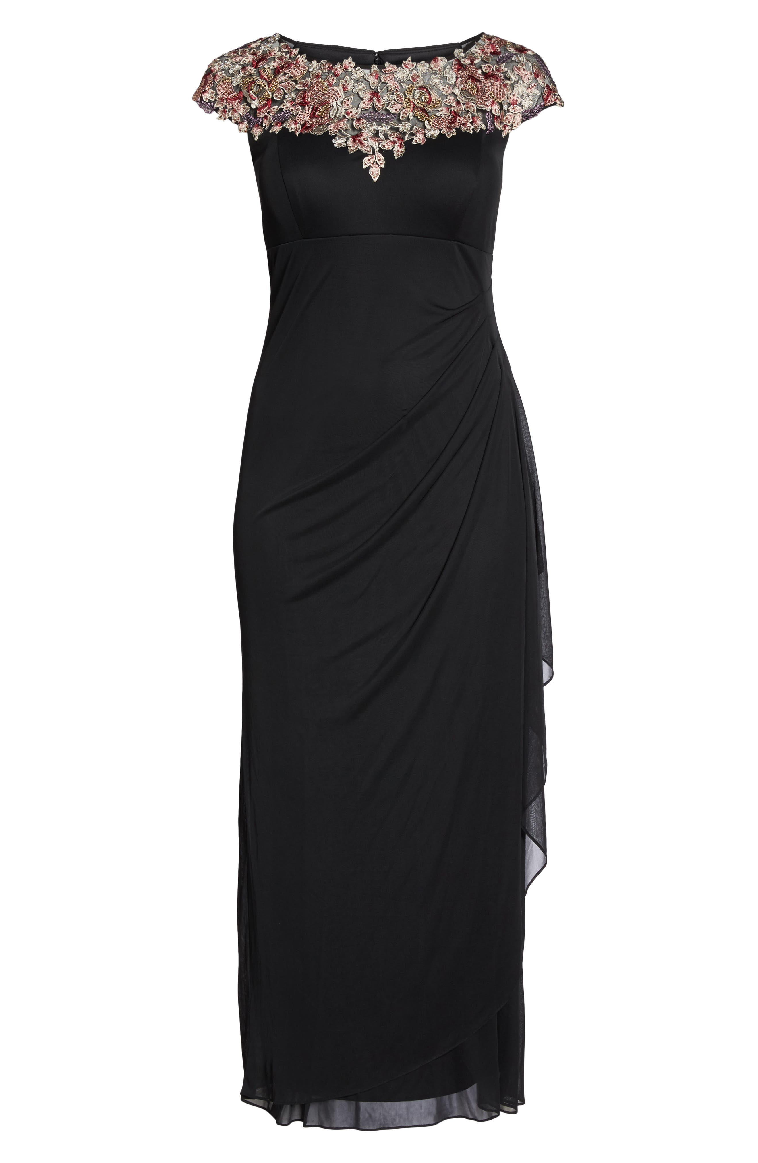 Embroidered Side Ruched Dress,                             Alternate thumbnail 6, color,                             Black/ Multi