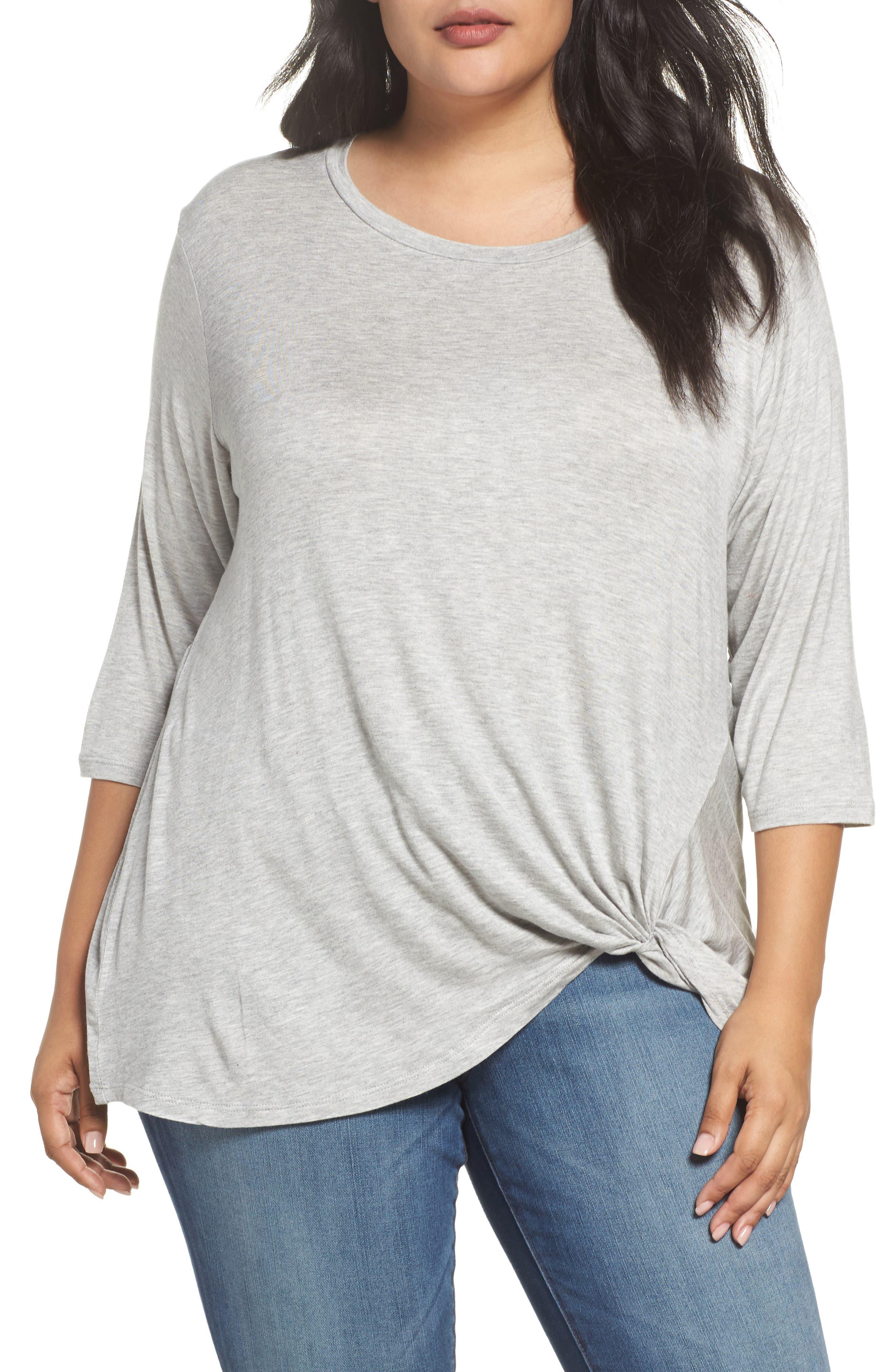 Side Twist Top,                         Main,                         color, Grey