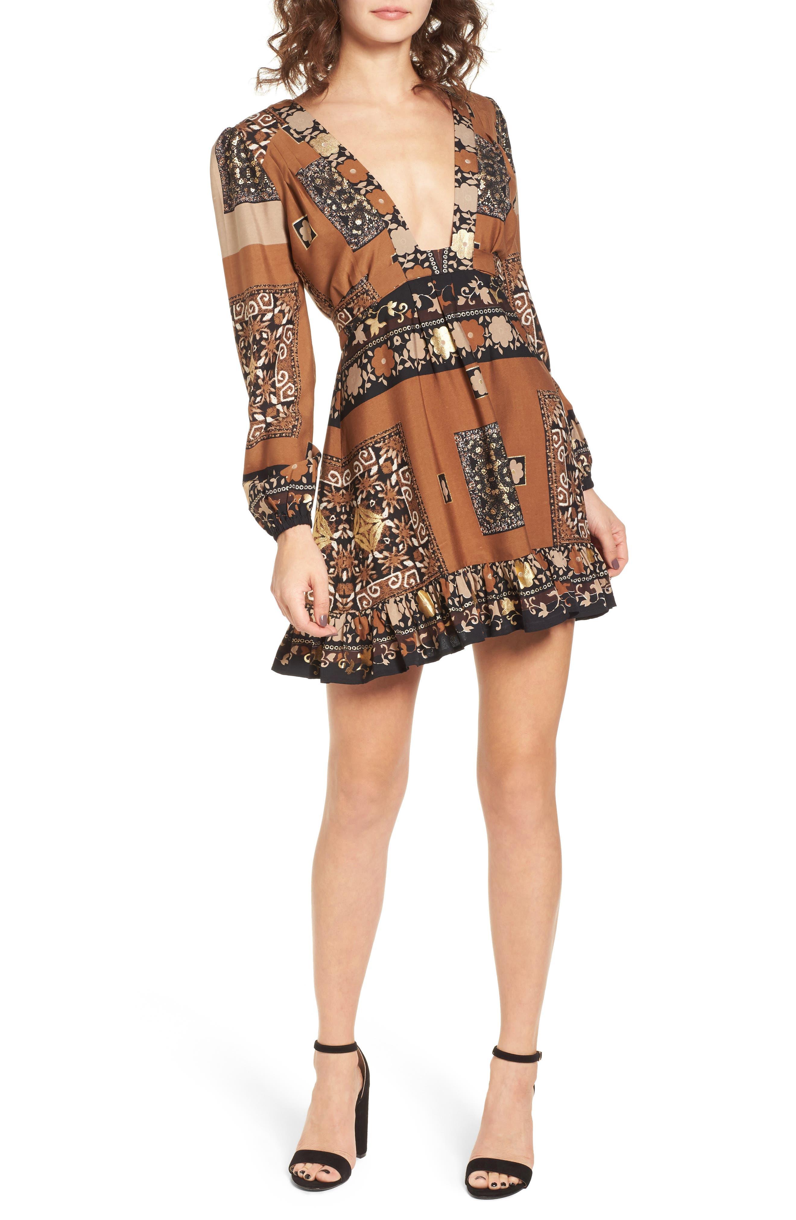 Sonder Print Plunging Minidress,                         Main,                         color, Brown