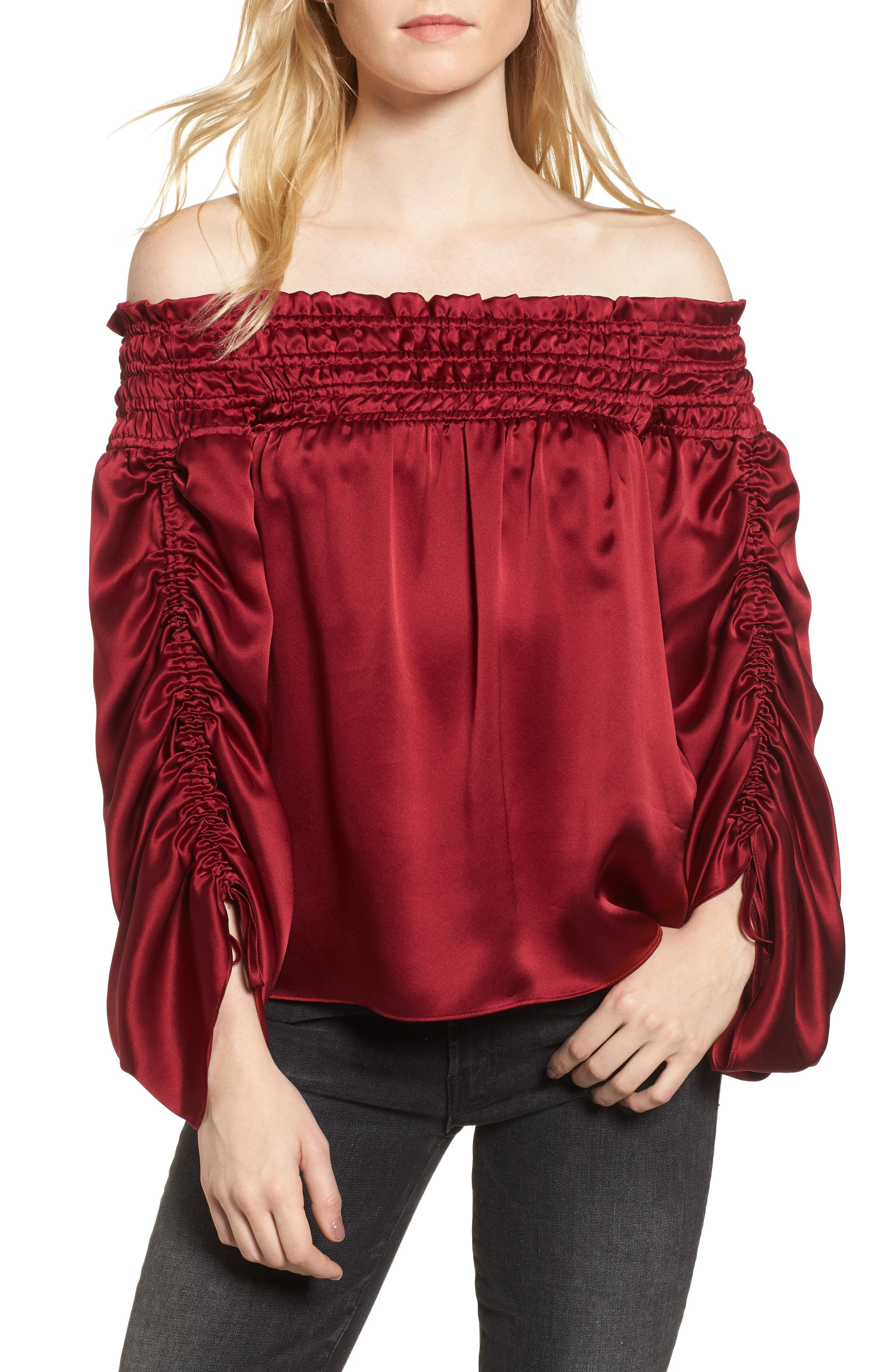 Silk Off the Shoulder Blouse,                         Main,                         color, Adriatic