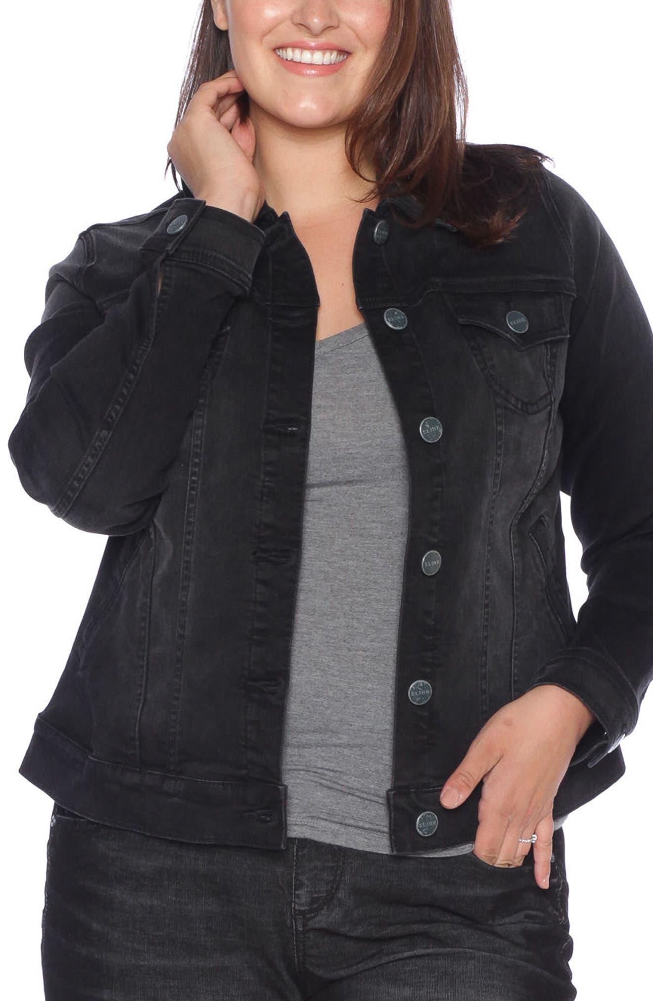 Alternate Image 1 Selected - SLINK Jeans Denim Trucker Jacket (Plus Size)