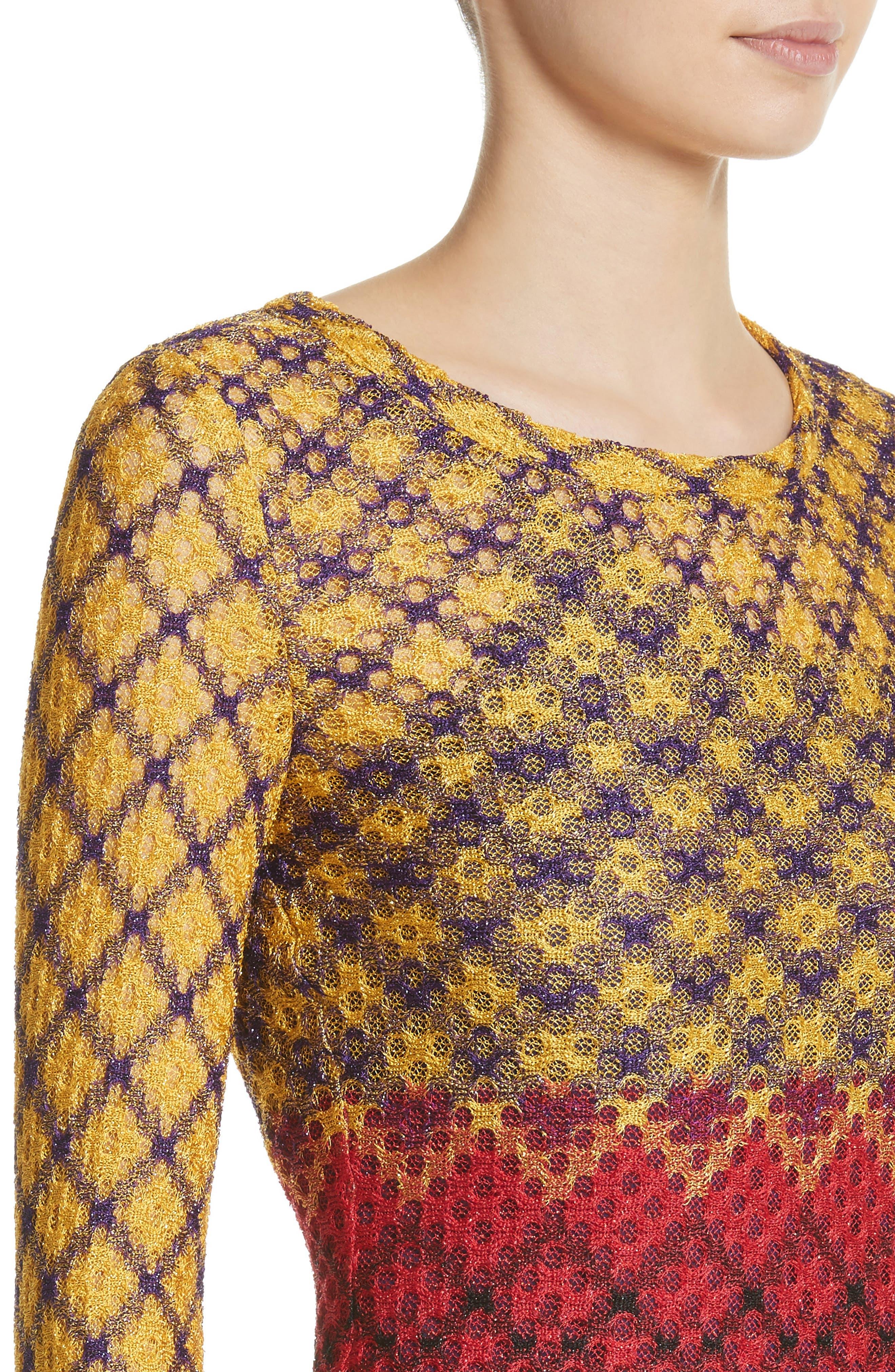 Metallic Knit Maxi Dress,                             Alternate thumbnail 4, color,                             Multi