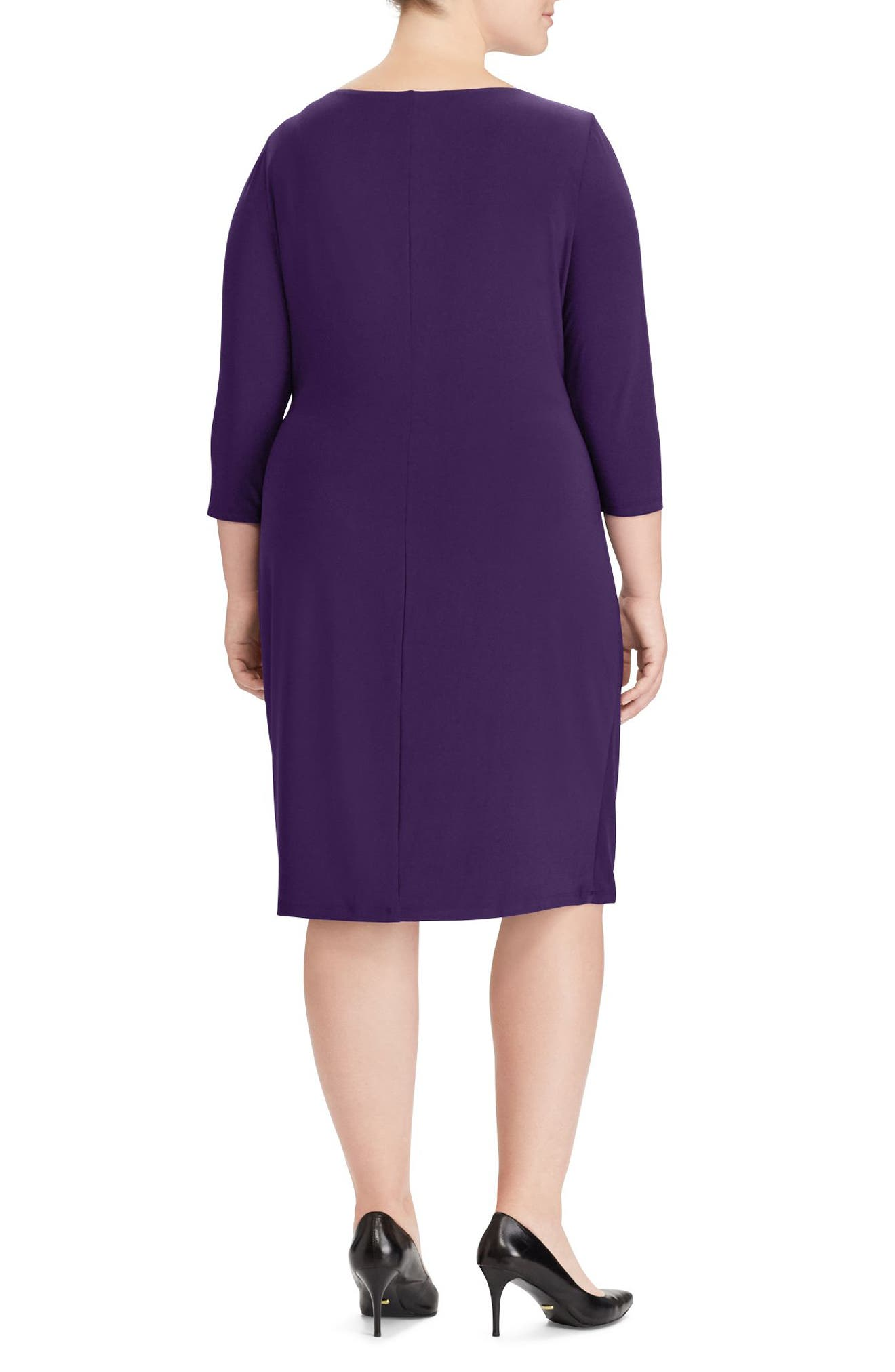 Ruched Jersey Dress,                             Alternate thumbnail 2, color,                             Purple