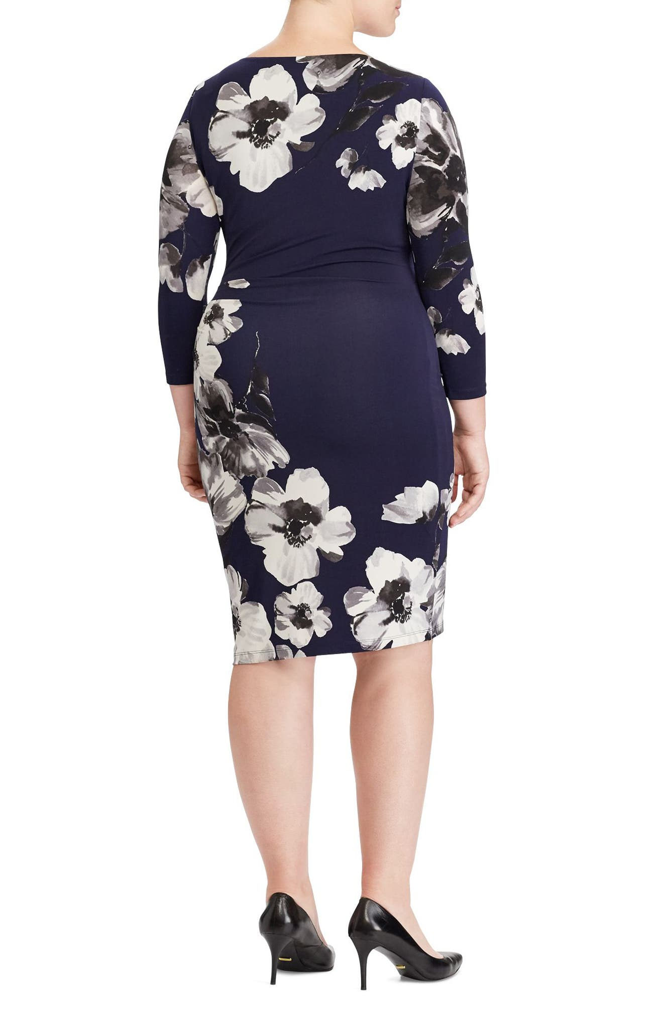 Floral Stretch Jersey Dress,                             Alternate thumbnail 2, color,                             Blackberry/ Slate/ Multi