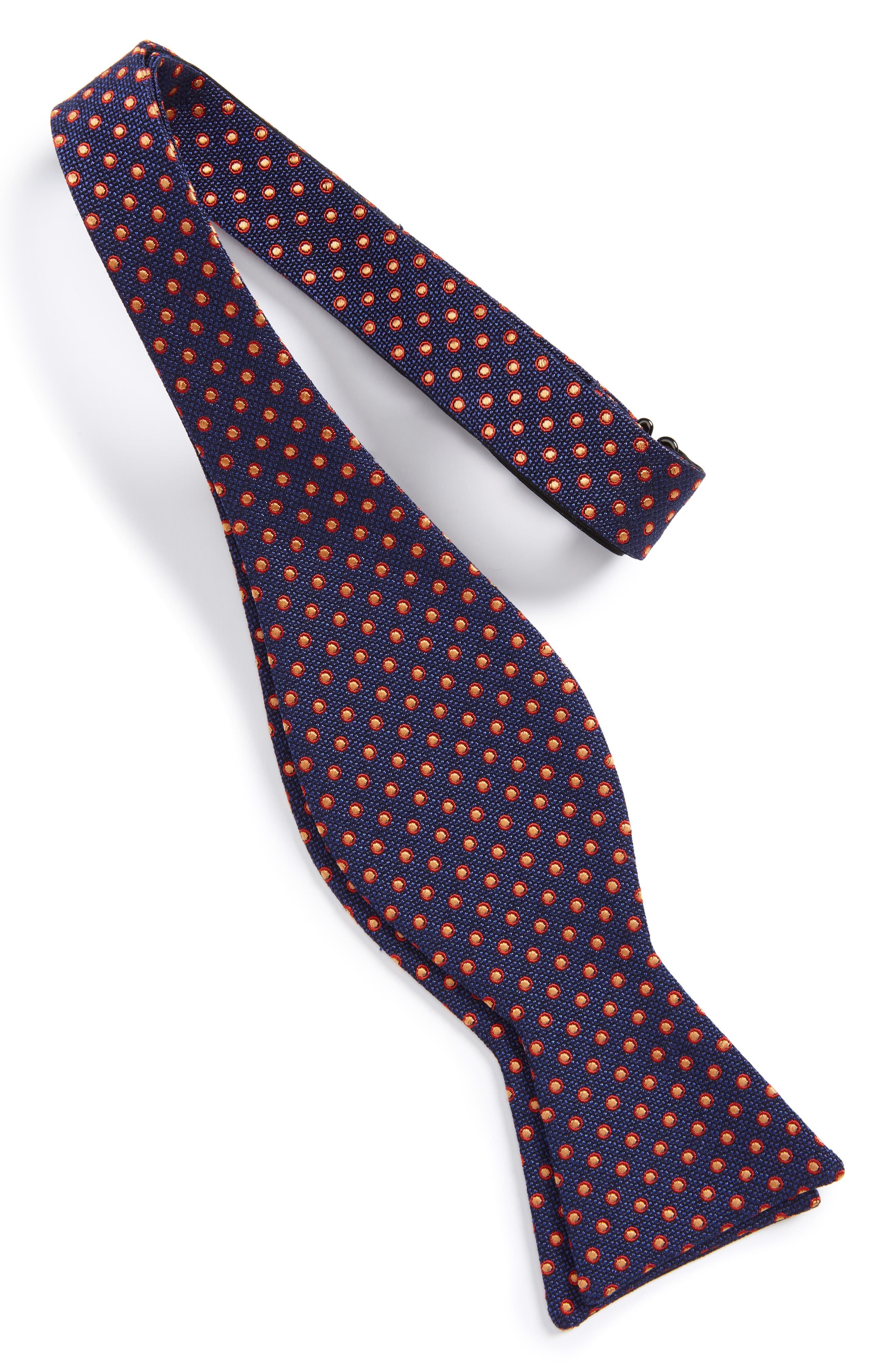 Fancy Dots Silk & Cotton Bow Tie,                             Alternate thumbnail 2, color,                             Navy