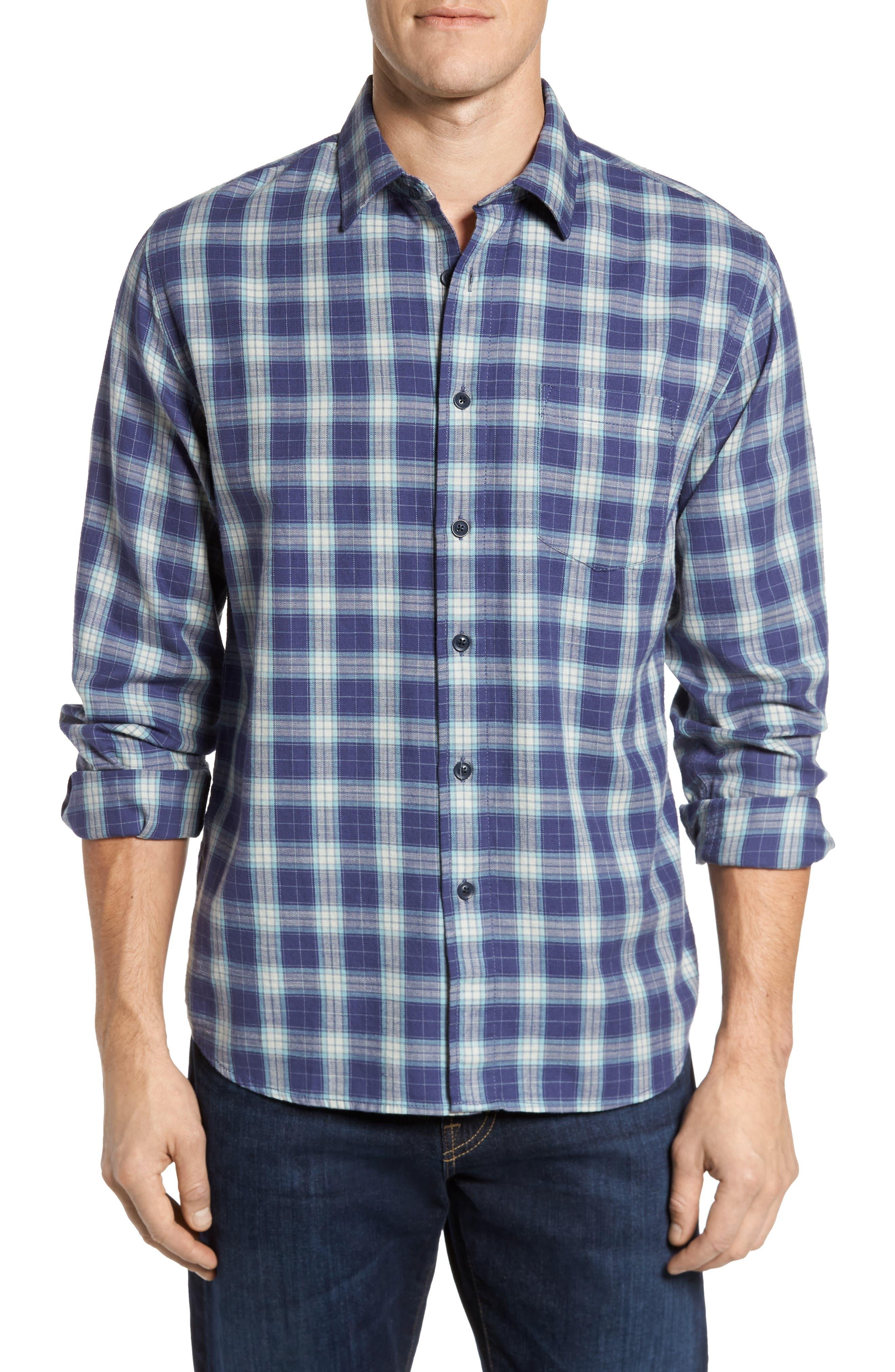 Walden Slim Fit Plaid Slub Twill Sport Shirt,                         Main,                         color, Seafoam