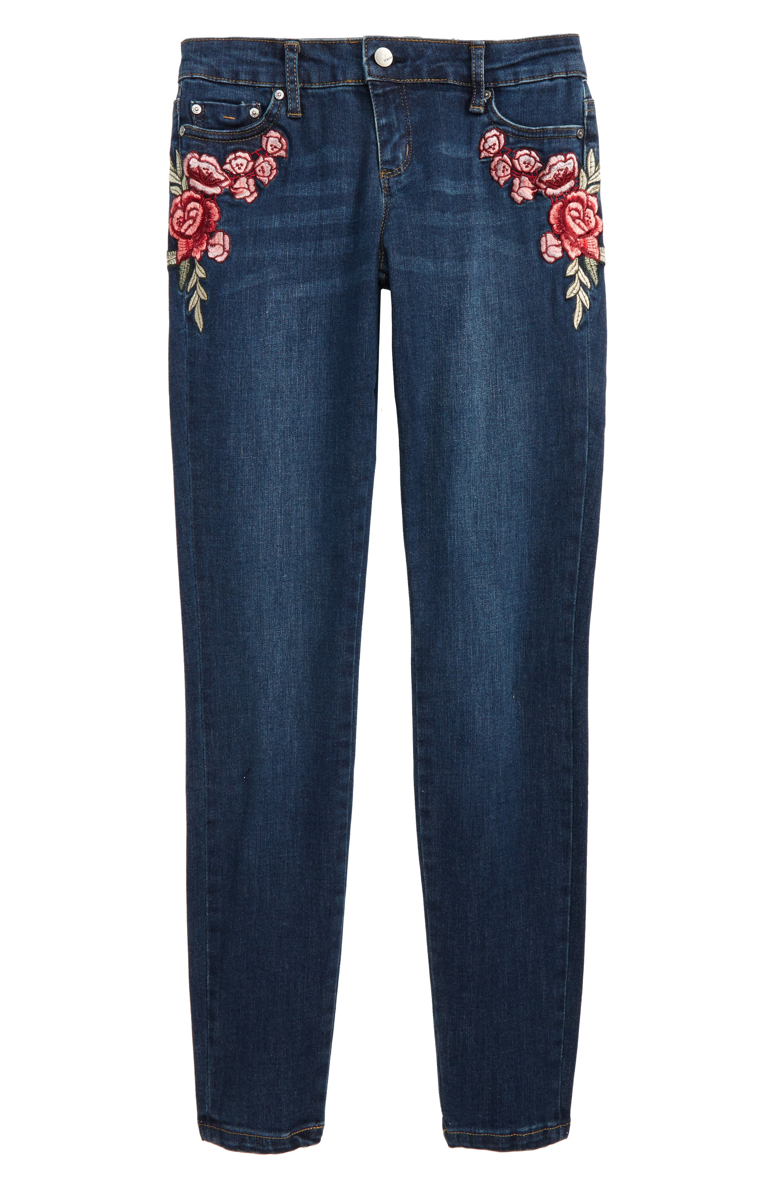 Tractr Rose Embroidered Skinny Jeans (Big Girls)