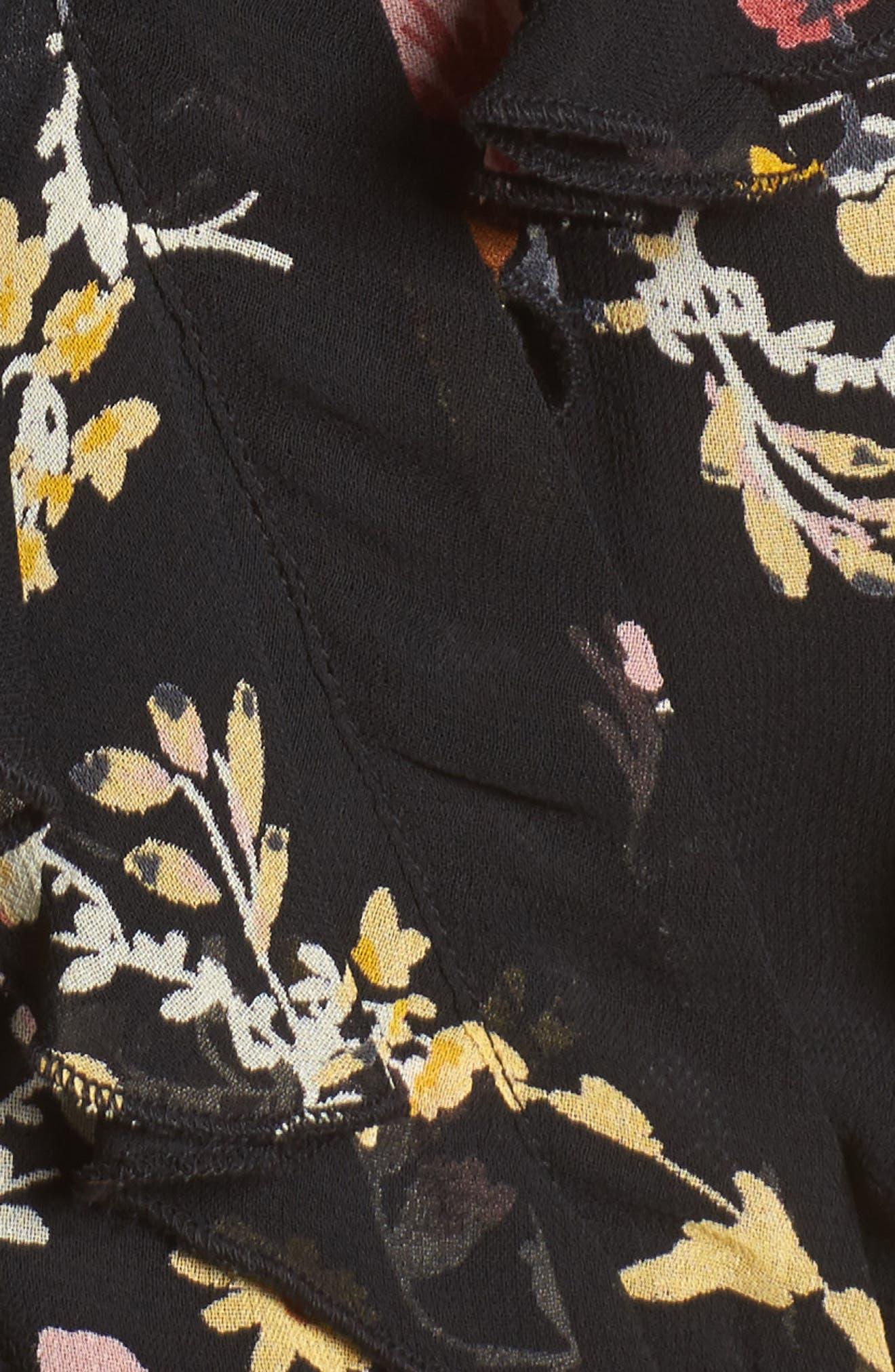 Floral Ruffle Bodysuit,                             Alternate thumbnail 5, color,                             Black/ Mustard