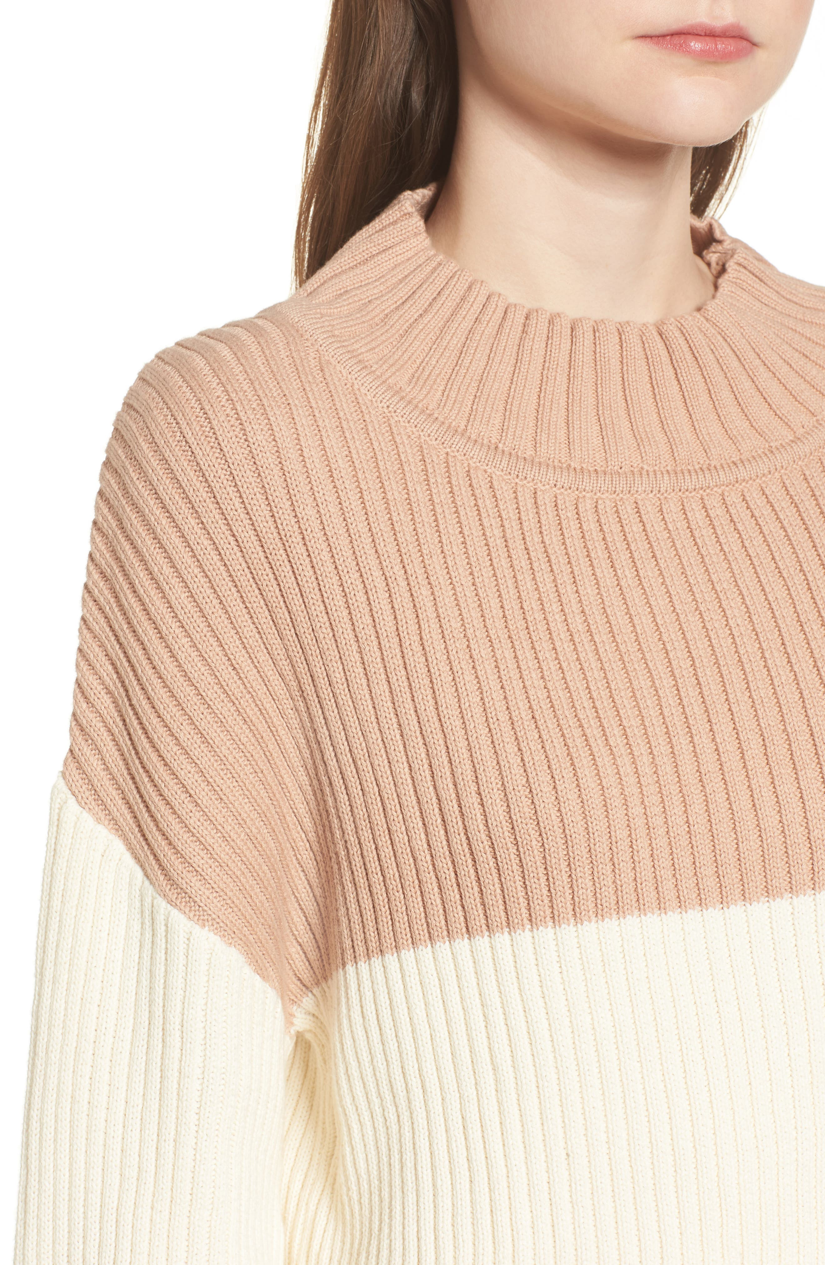 Like a Melody Colorblock Crop Sweater,                             Alternate thumbnail 4, color,                             Cream/ Dusty Pink