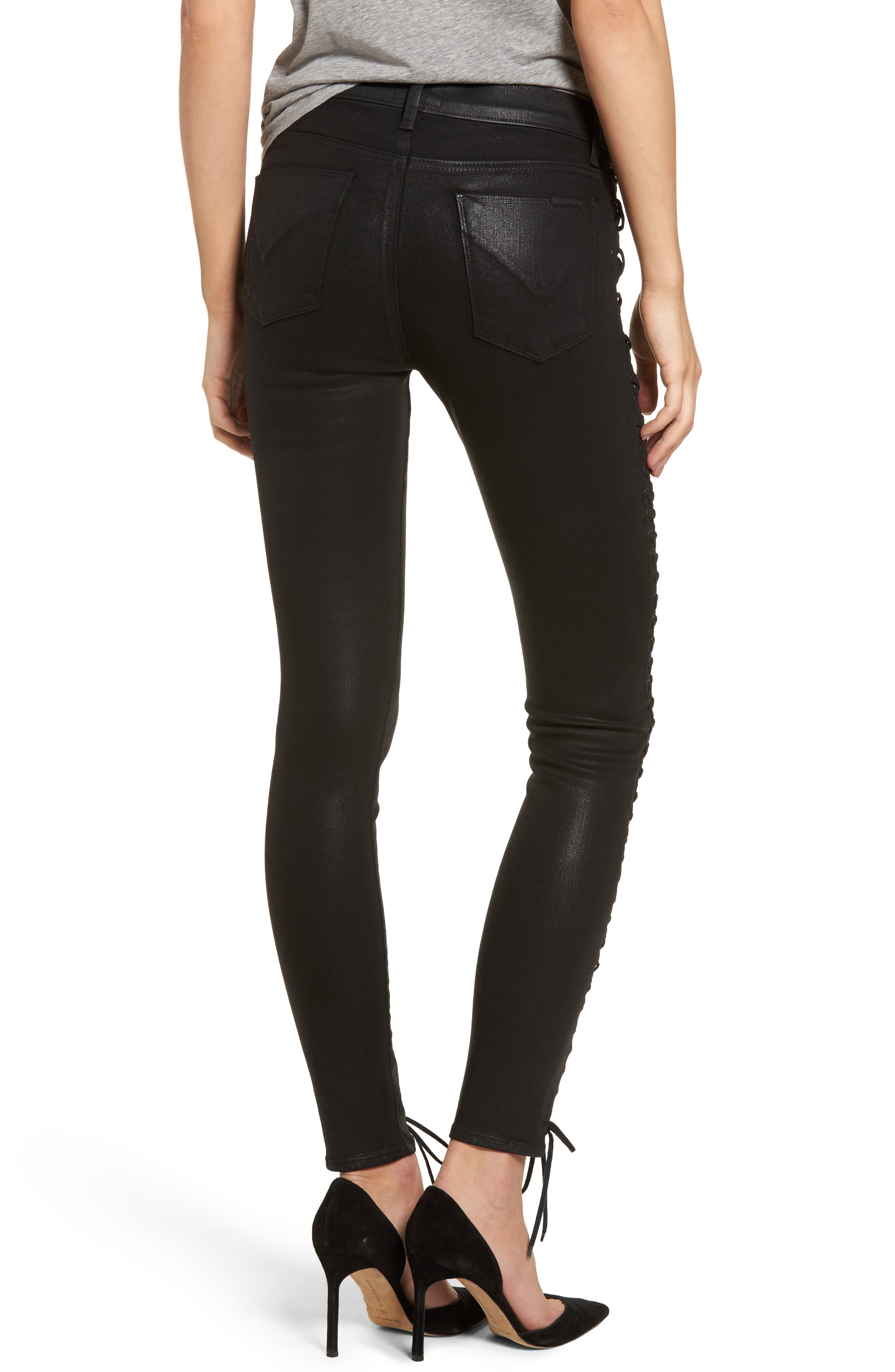 Alternate Image 2  - Hudson Jeans Stevie Lace-Up Skinny Jeans (Black Coated)