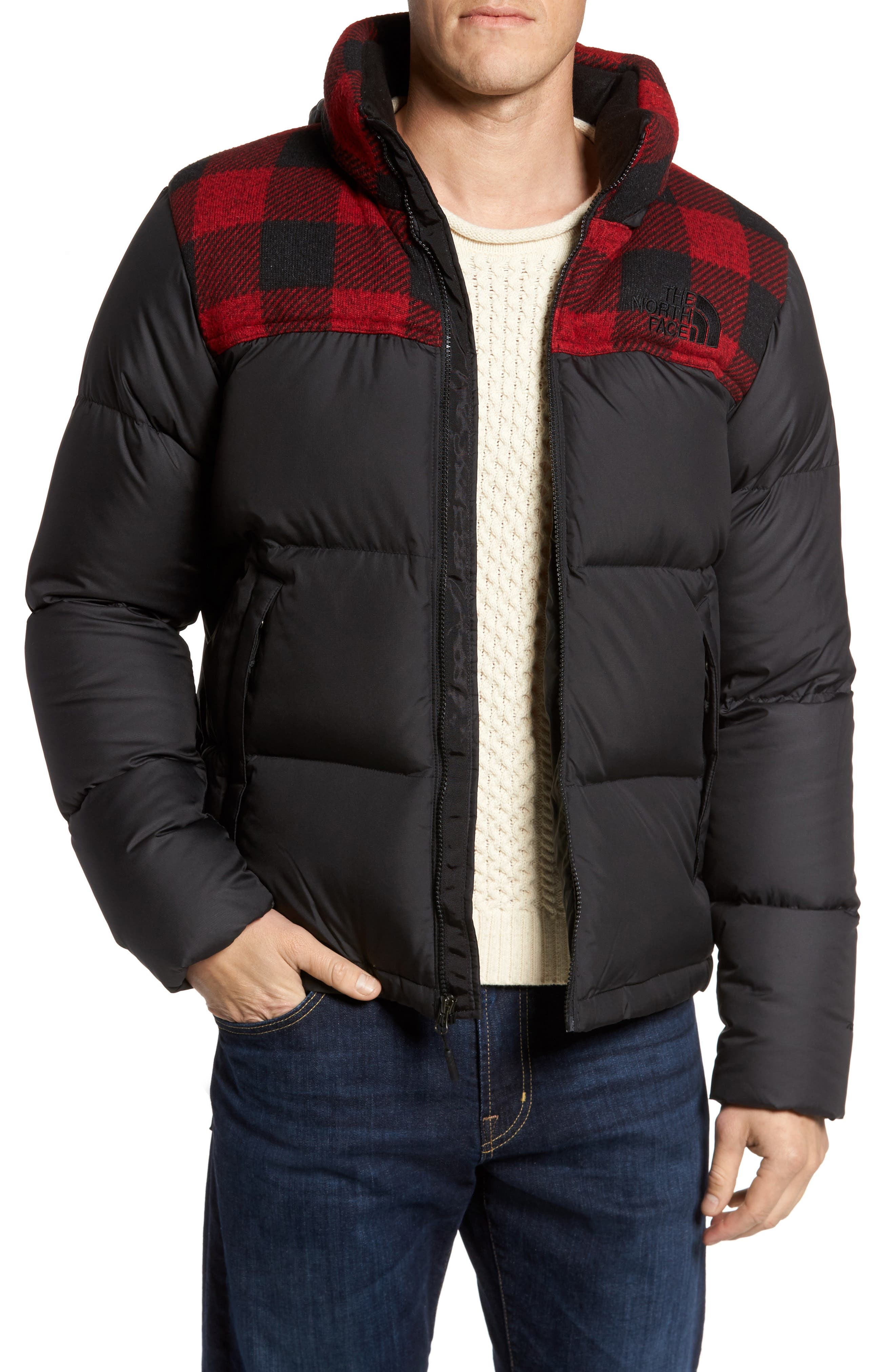 Mixed Media Jacket,                         Main,                         color, Black/ Cardinal Red Grizzly
