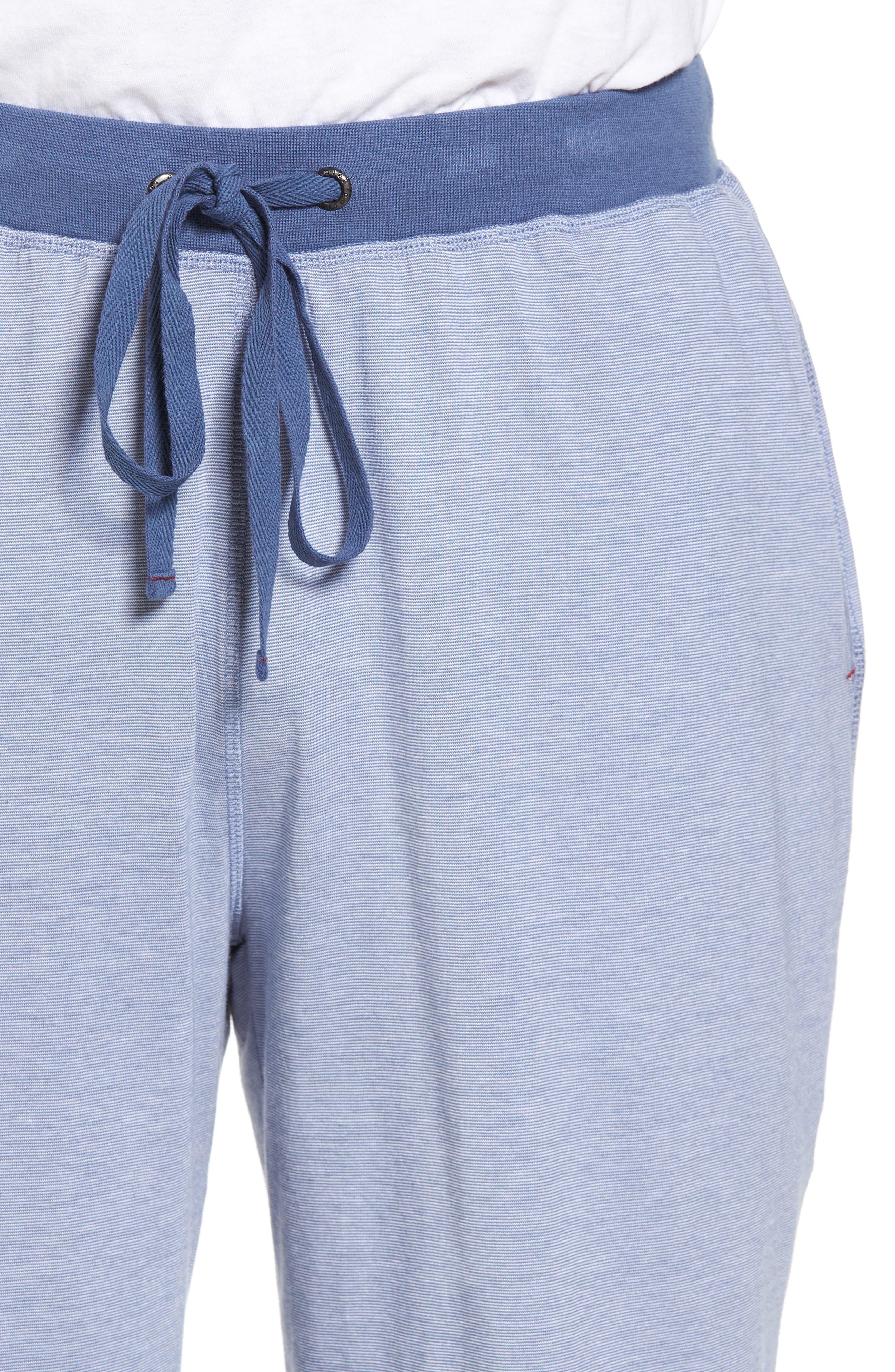 Pima Cotton & Modal Lounge Shorts,                             Alternate thumbnail 4, color,                             Blue/ Ivory