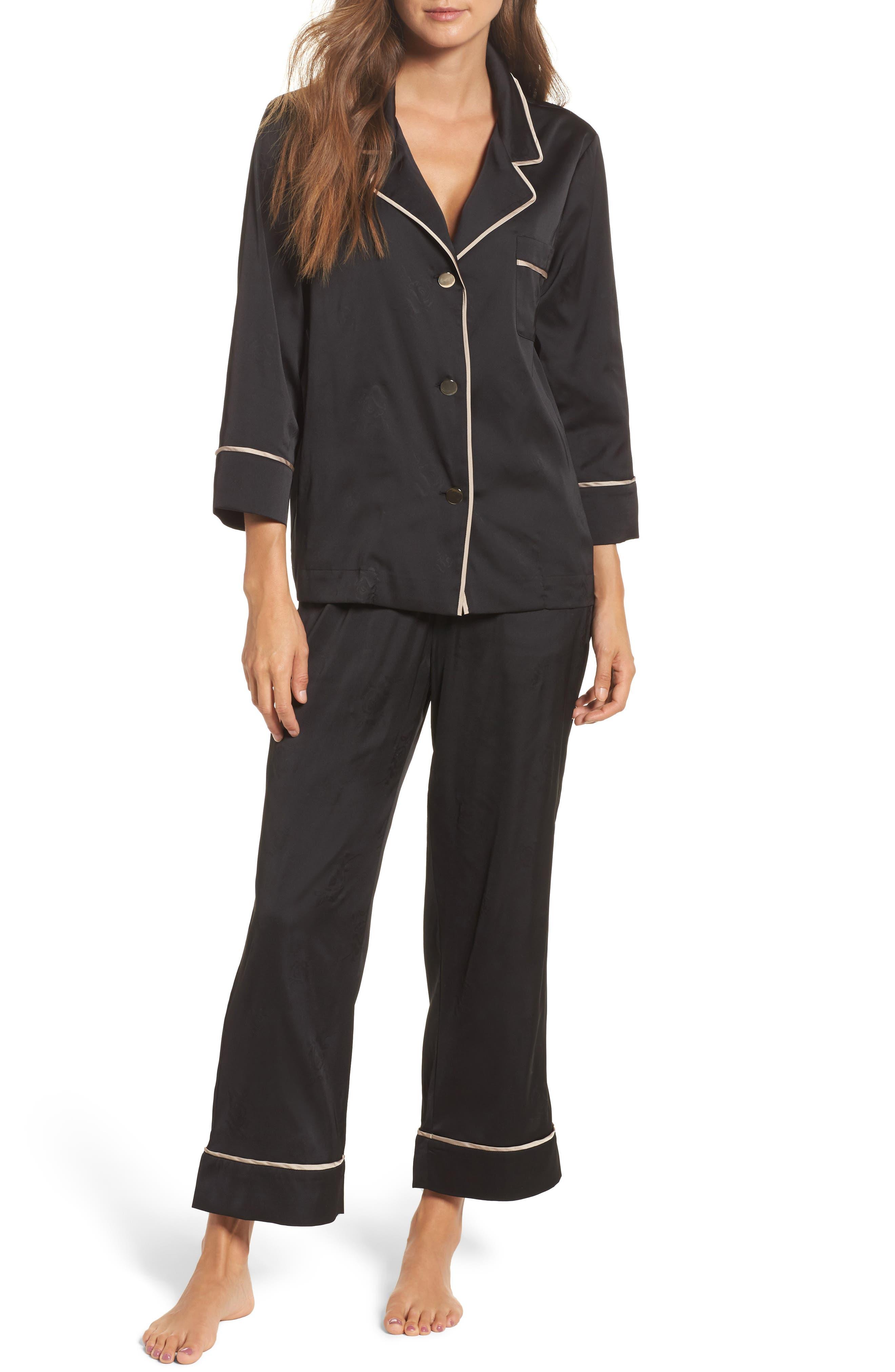 Crop Pajamas,                         Main,                         color, Onyx