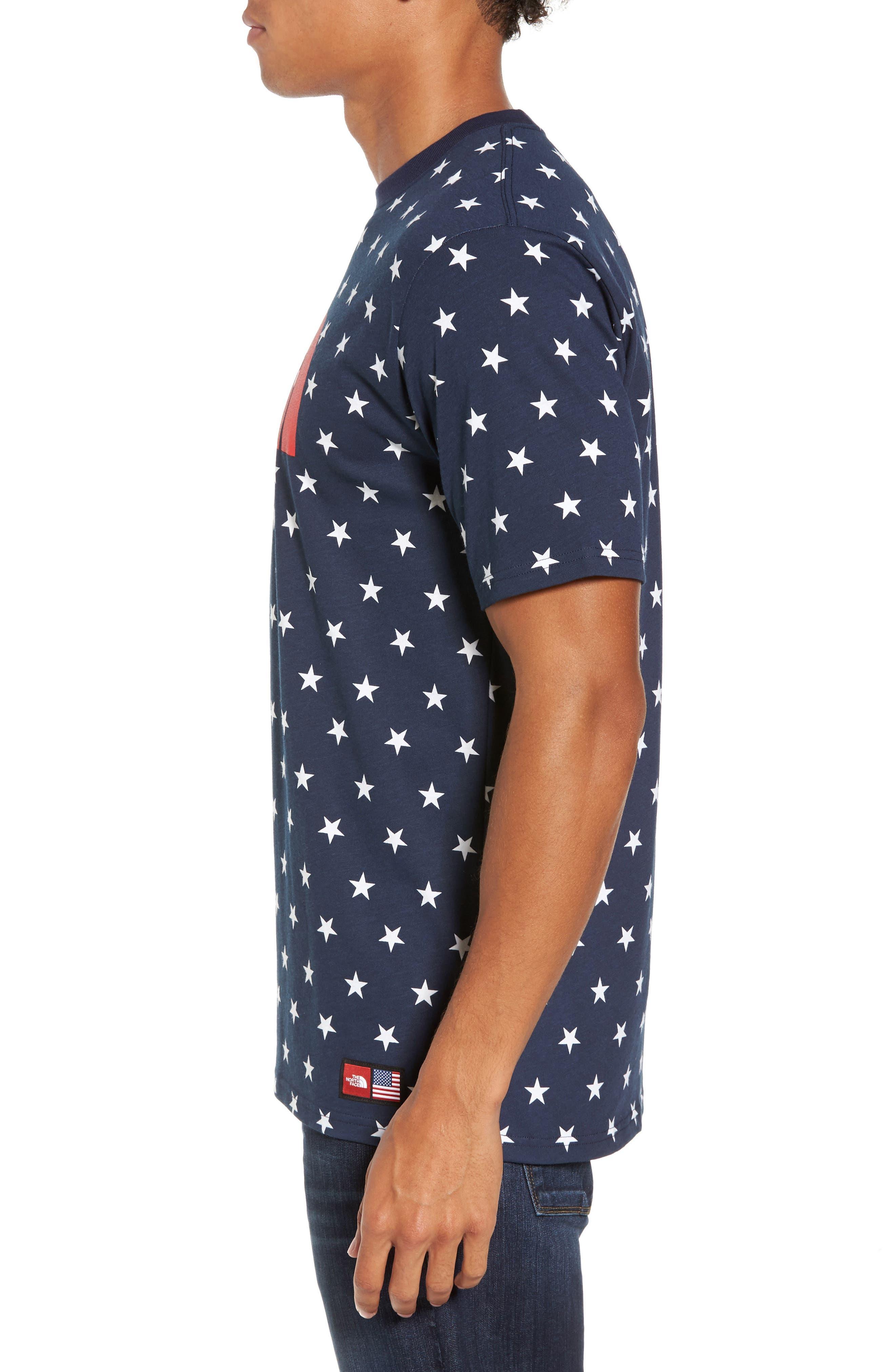 International Collection Star Print T-Shirt,                             Alternate thumbnail 3, color,                             Cosmic Blue Star Print