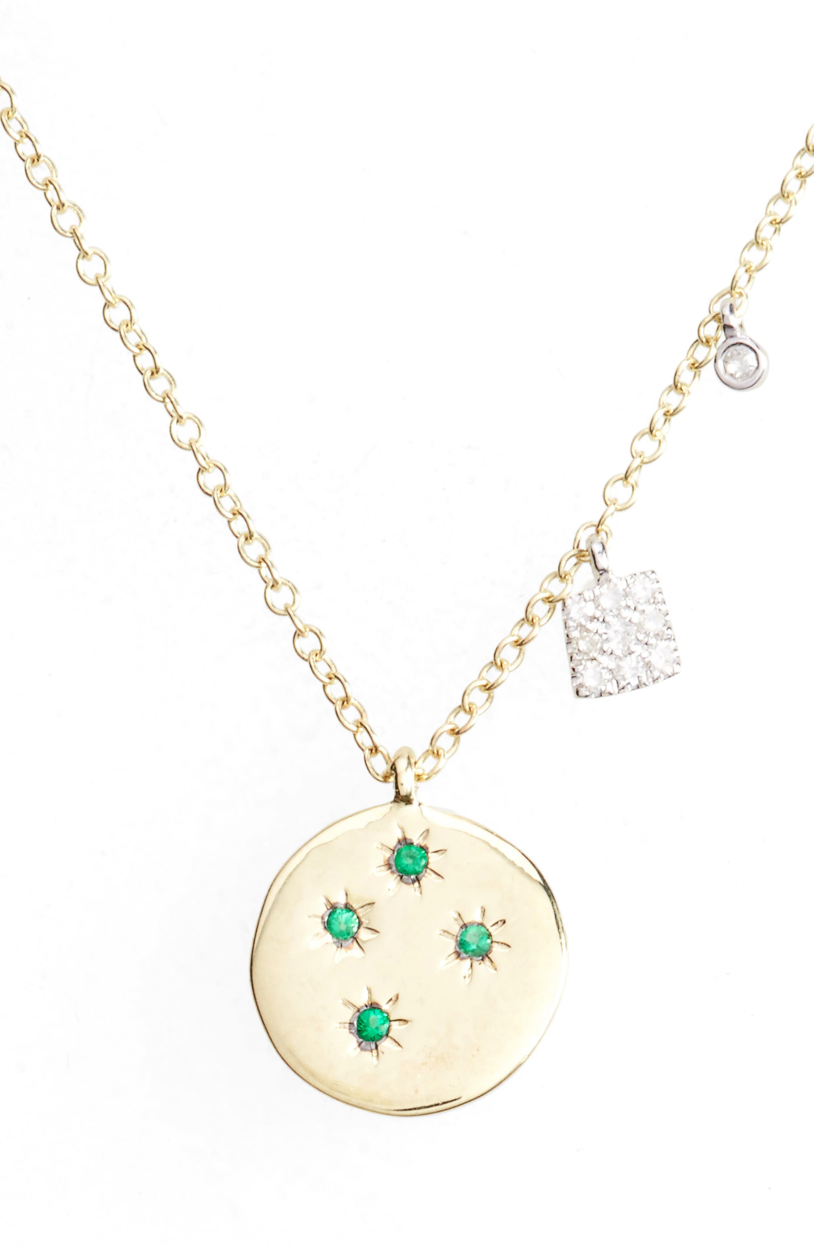 Diamond & Gemstone Pendant Necklace,                             Main thumbnail 1, color,                             Yellow Gold/ Emerald