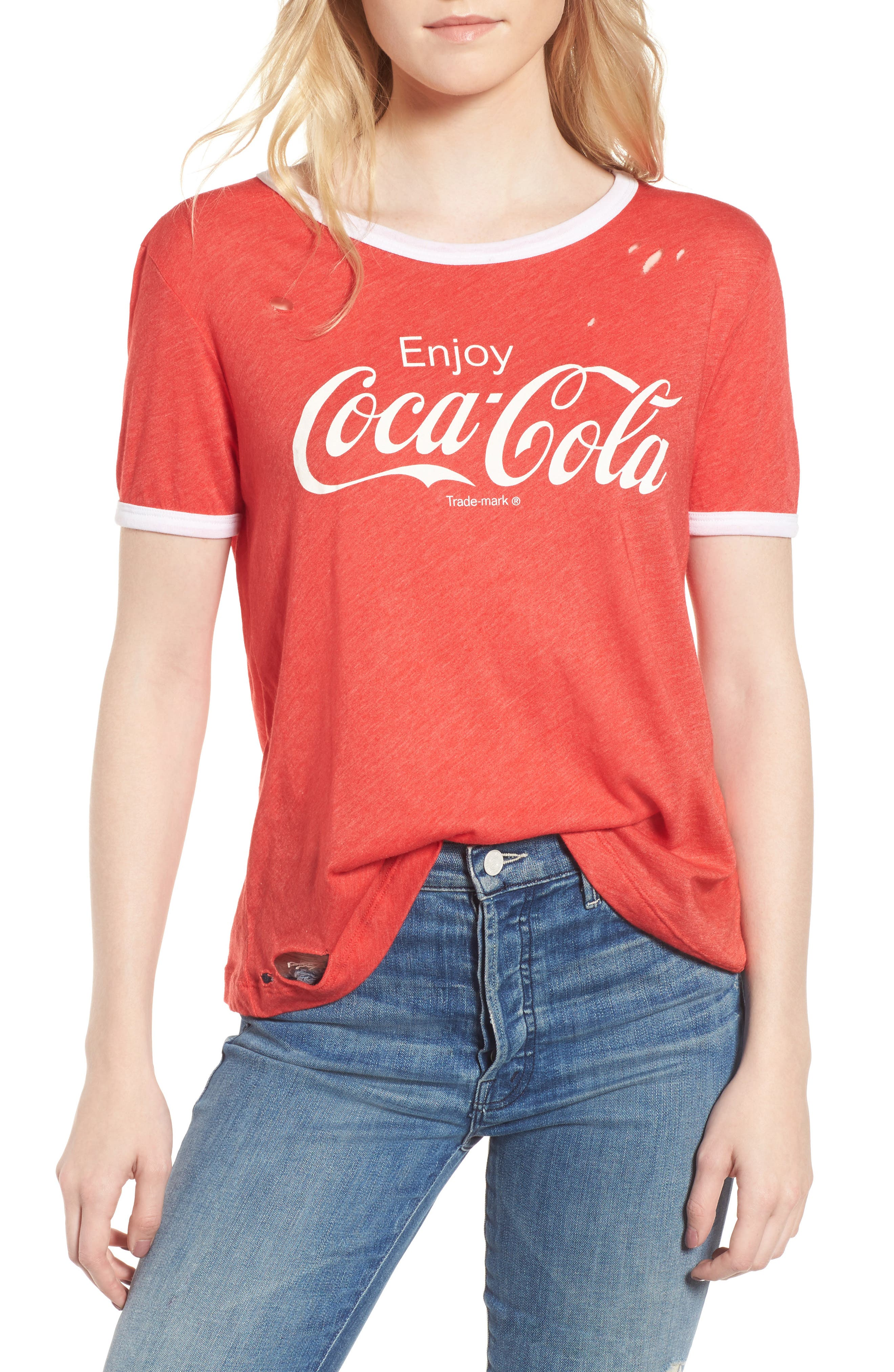 Coca Cola<sup>®</sup> Ringer Tee,                         Main,                         color, Red Line