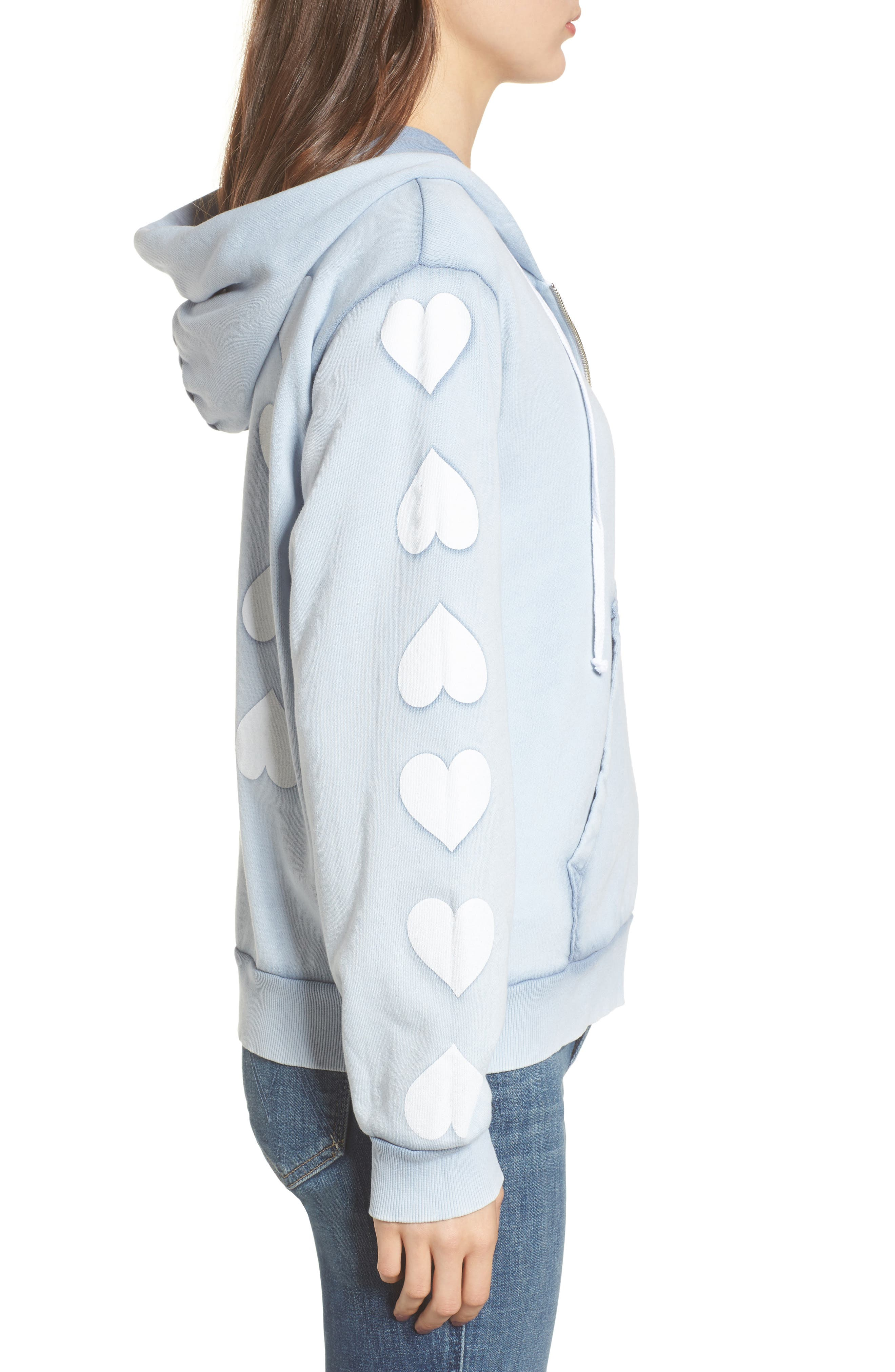 Heart of Hearts Zip Hoodie,                             Alternate thumbnail 3, color,                             Blue Ribbon