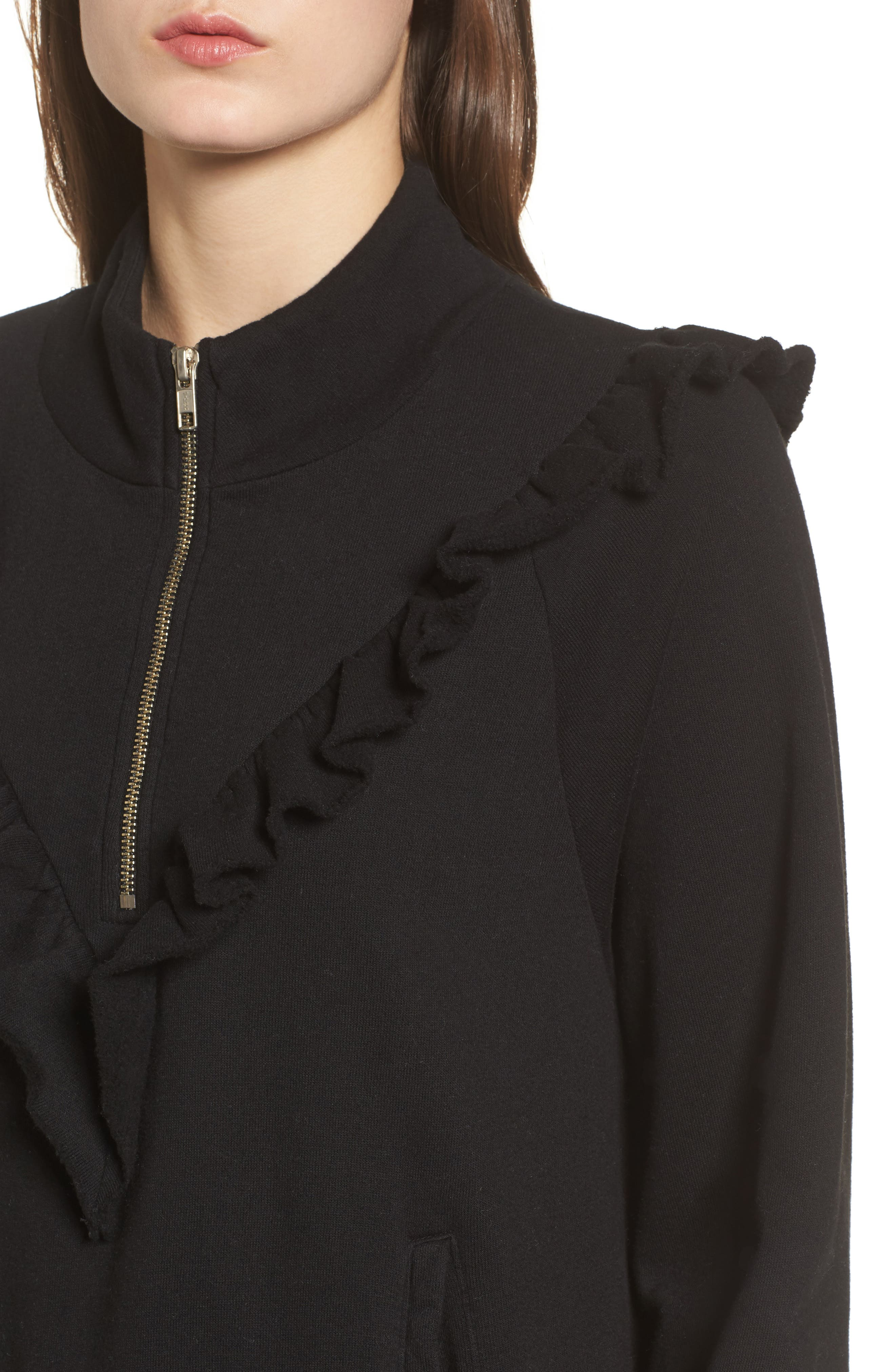 Prima Ruffle Warm-Up Pullover,                             Alternate thumbnail 4, color,                             Black