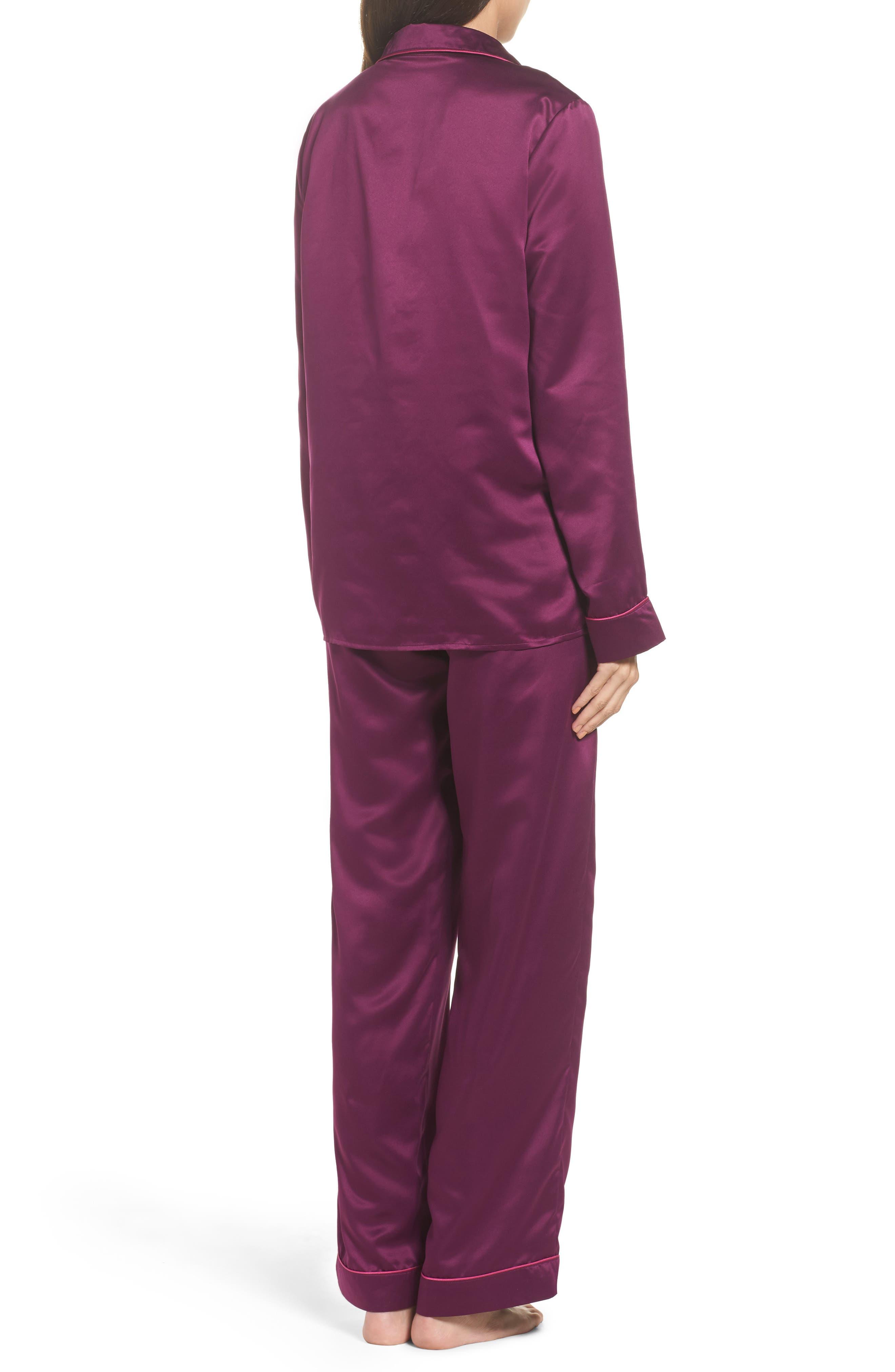 Satin Pajamas,                             Alternate thumbnail 2, color,                             Purple Dark