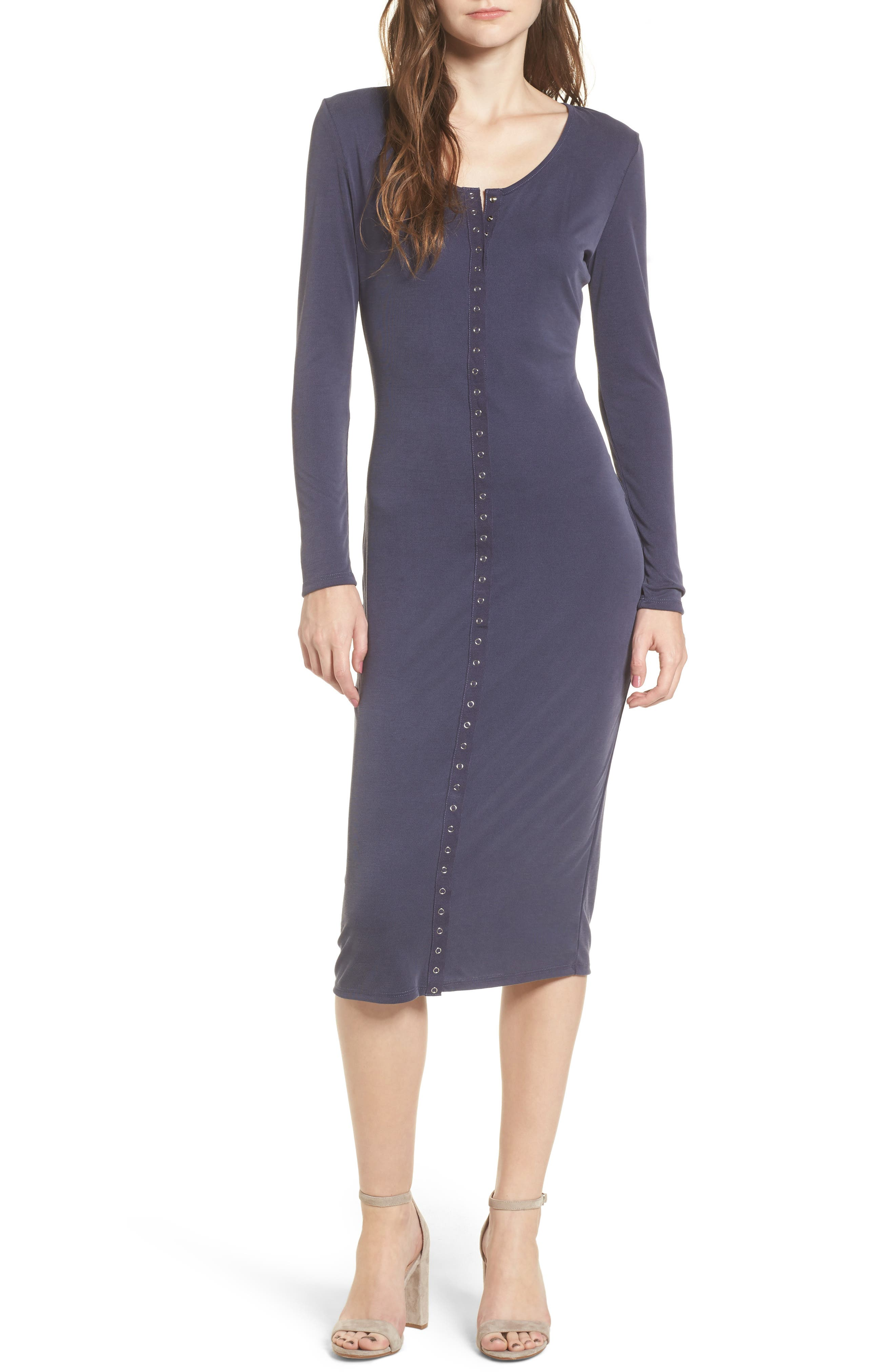 Snap Front Henley Dress,                         Main,                         color, Navy Evening