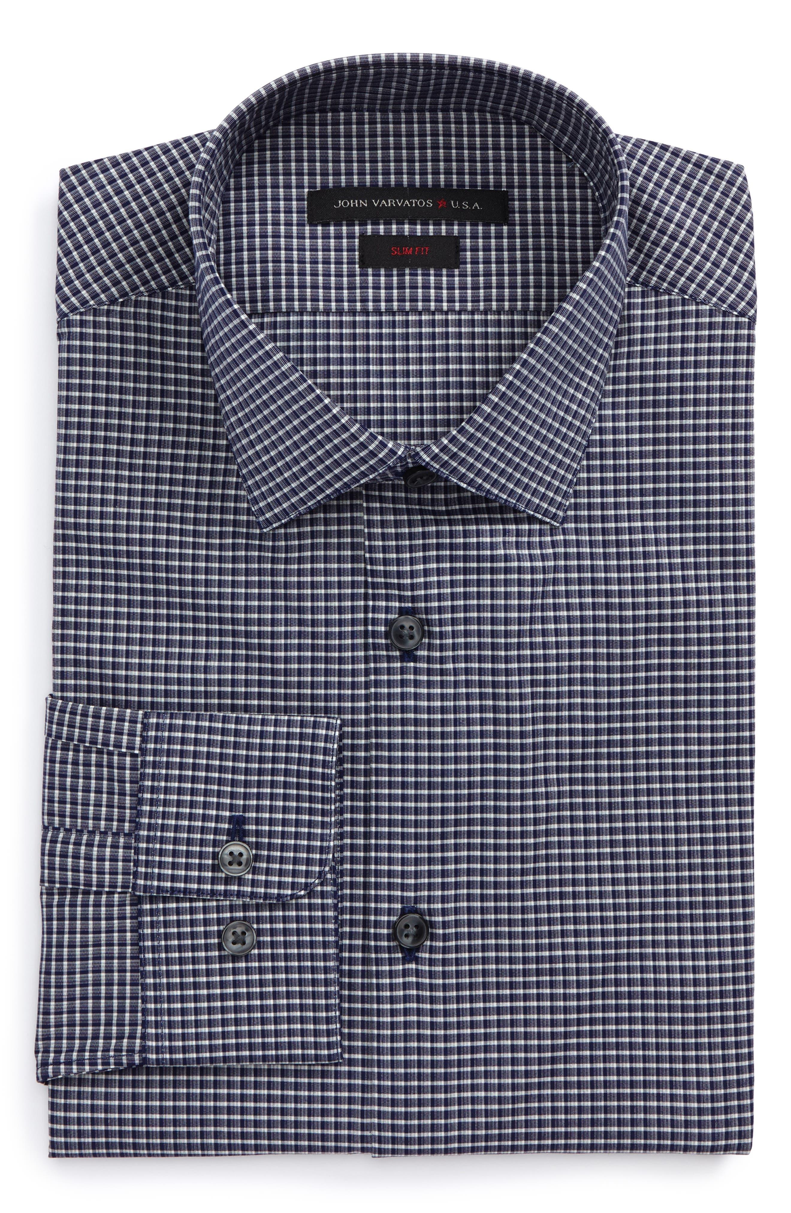 Slim Fit Stretch Check Dress Shirt,                             Main thumbnail 1, color,                             Indigo