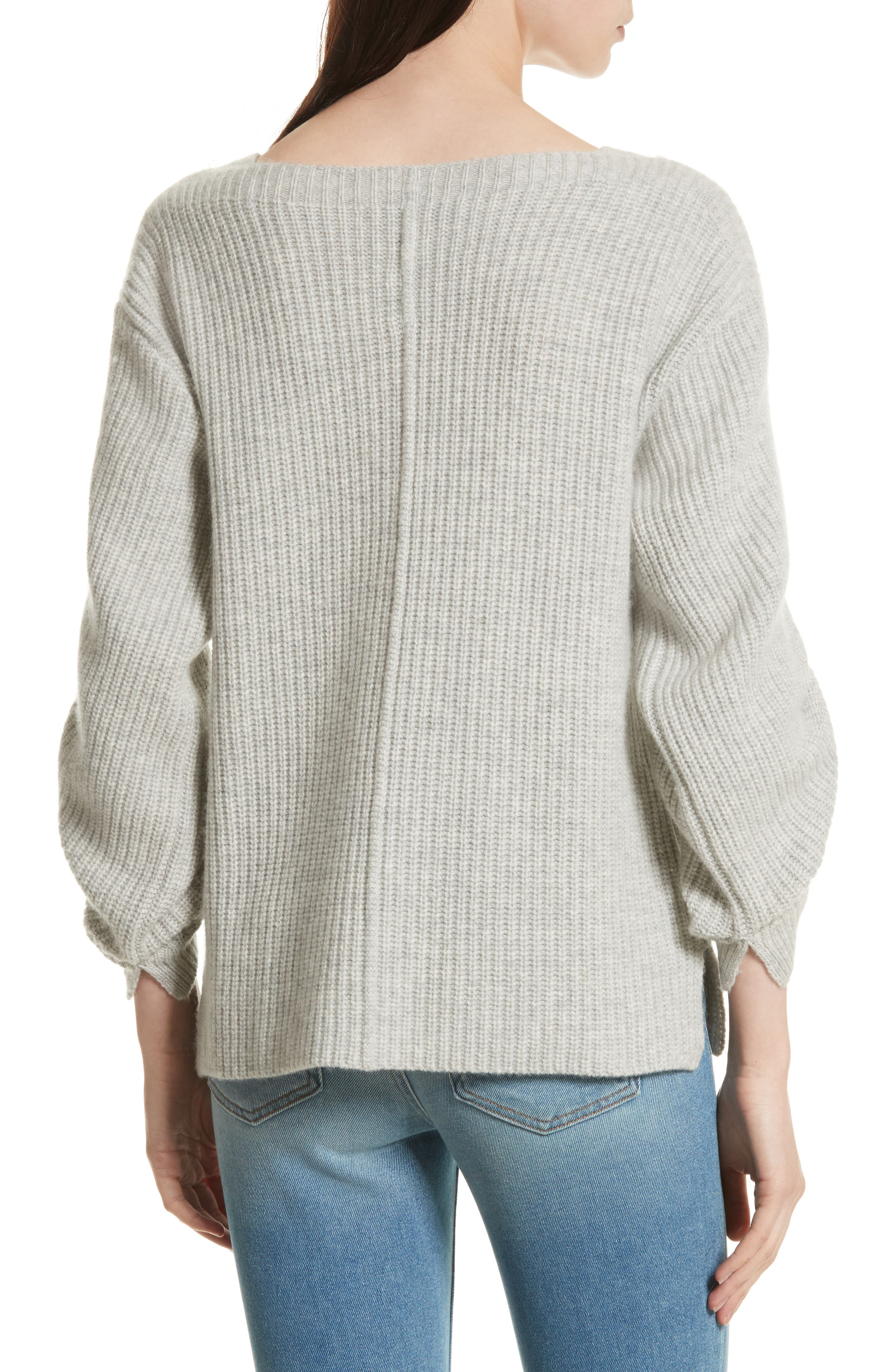 The Reva Boat Neck Wool & Cashmere Sweater,                             Alternate thumbnail 2, color,                             Gris Melange