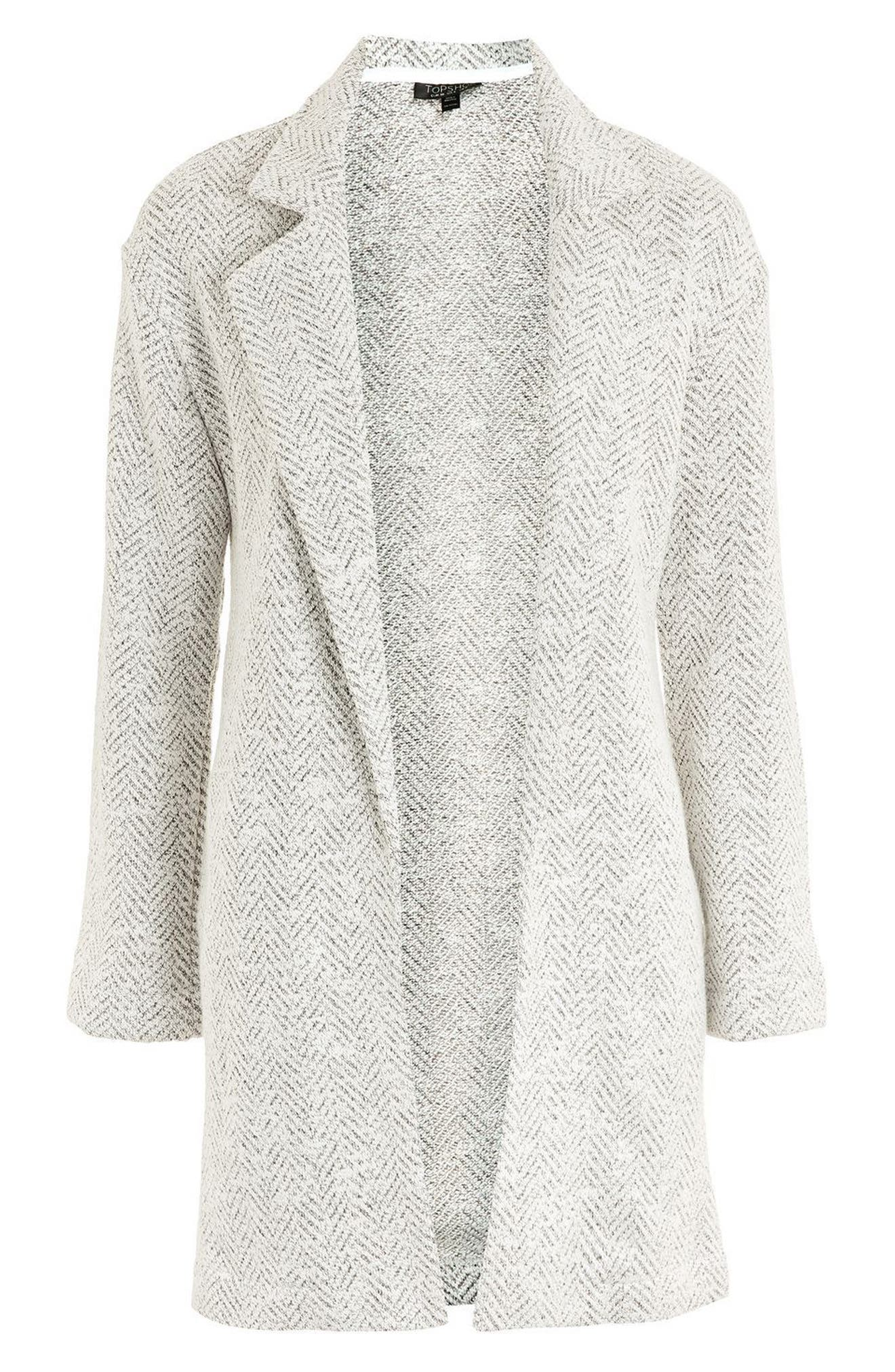 Alternate Image 4  - Topshop Textured Chevron Blazer Coat