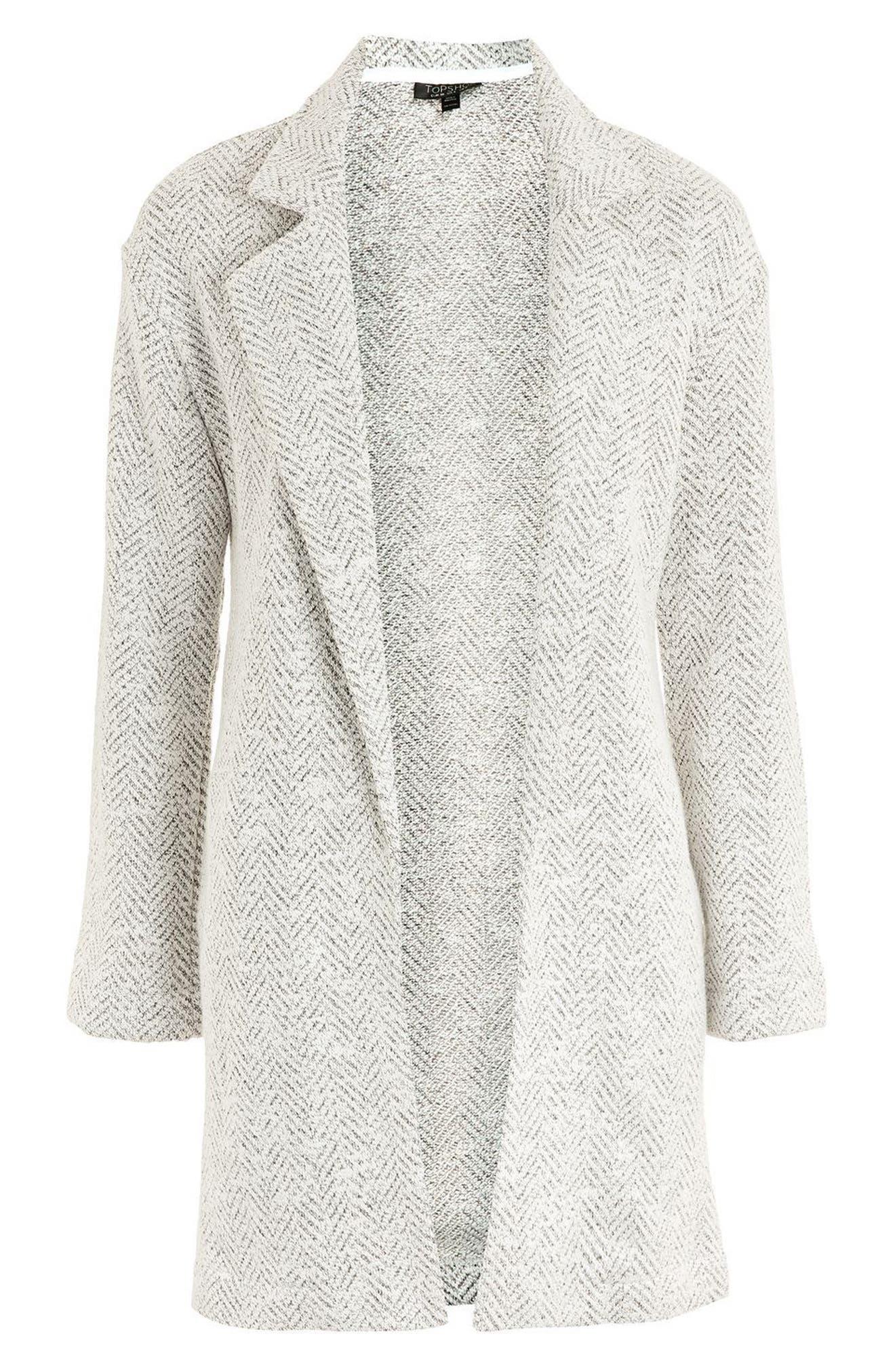 Textured Chevron Blazer Coat,                             Alternate thumbnail 4, color,                             White Multi