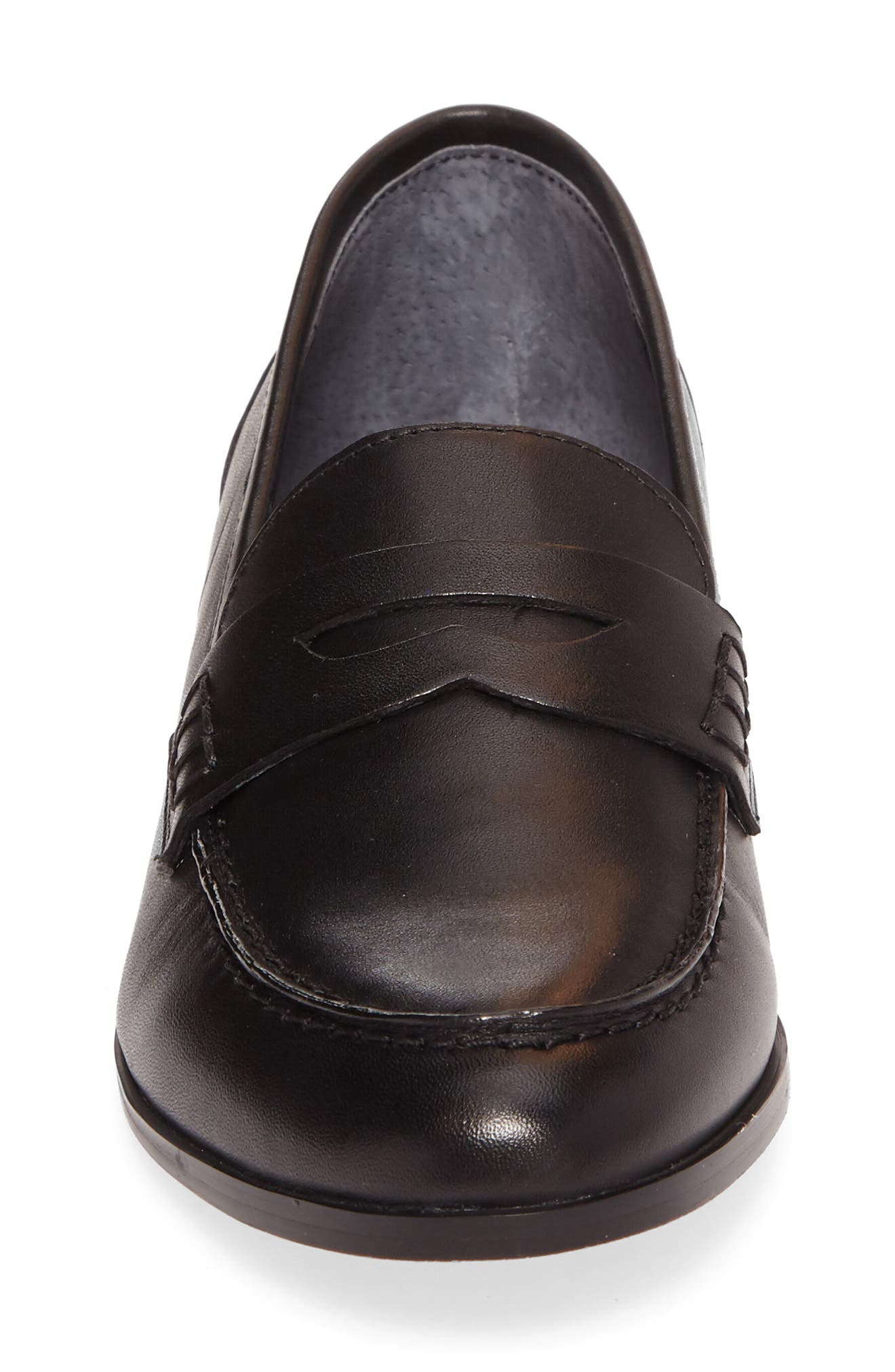 Georgie Penny Loafer,                             Alternate thumbnail 4, color,                             Black Leather