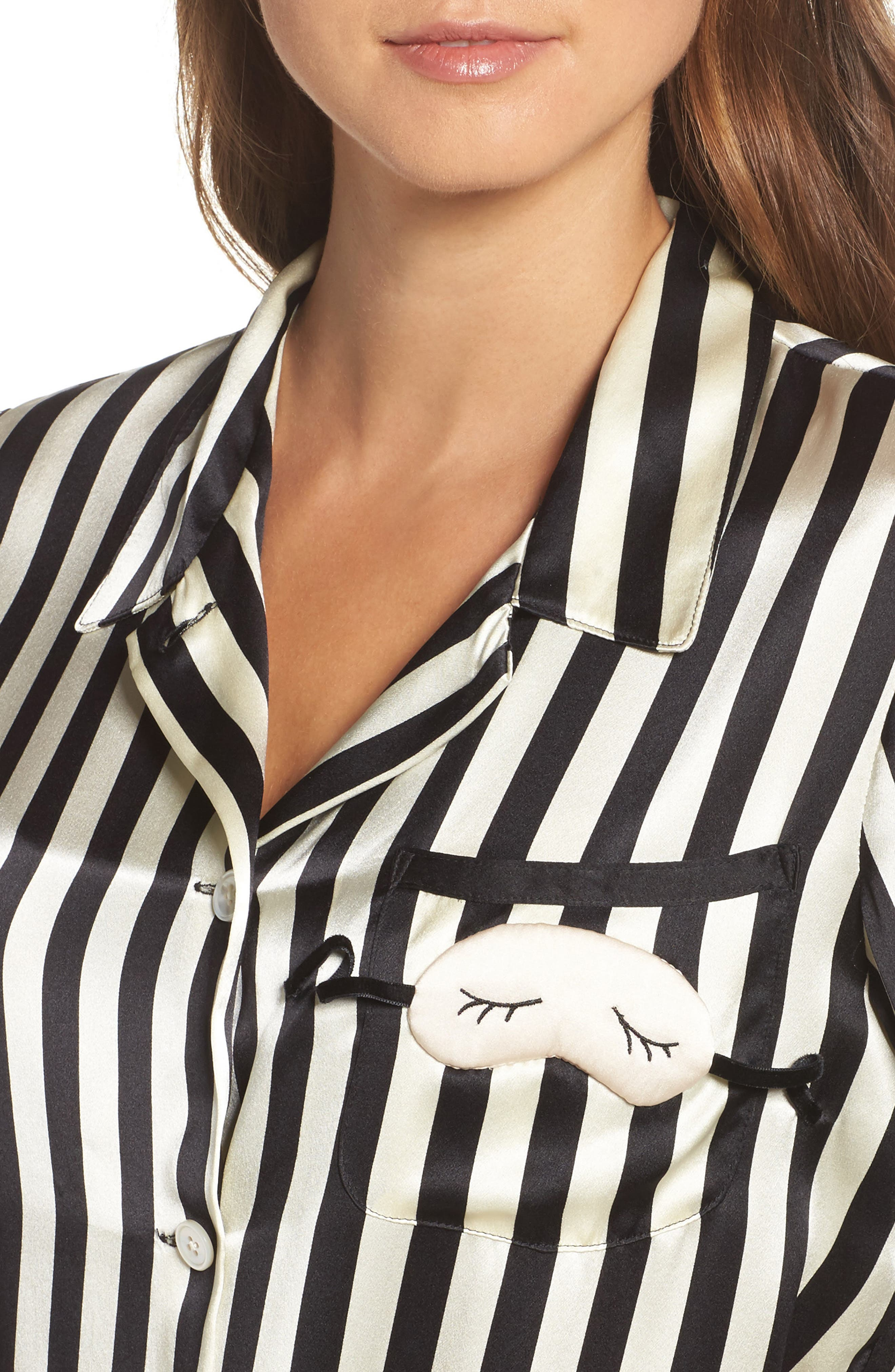 x Amanda Fatherazi Ruthie Mini Mask Stripe Pajama Top,                             Alternate thumbnail 6, color,                             Noir/ Ecru