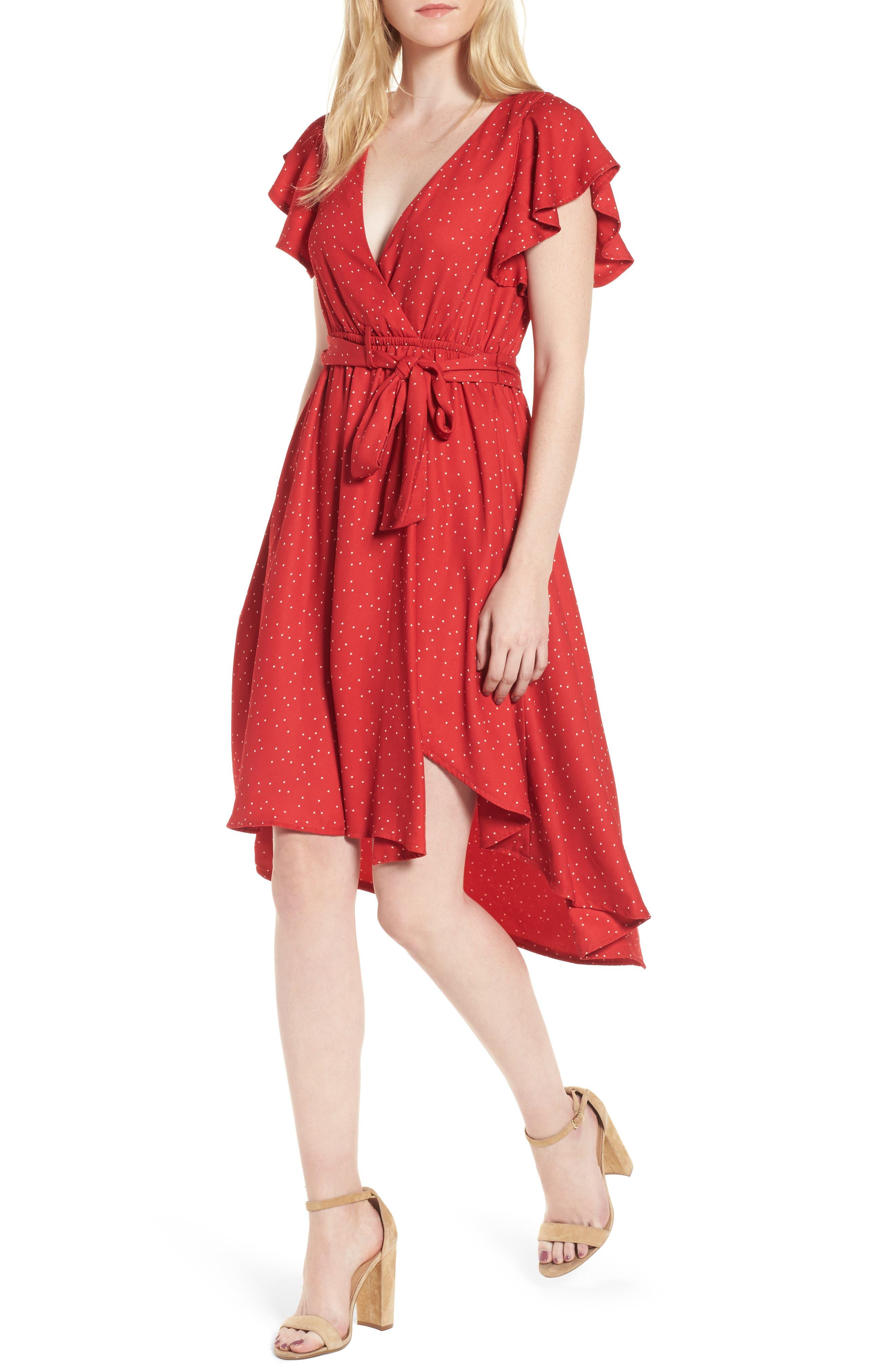 Bassinger Faux Wrap High/Low Dress,                         Main,                         color, Crimson