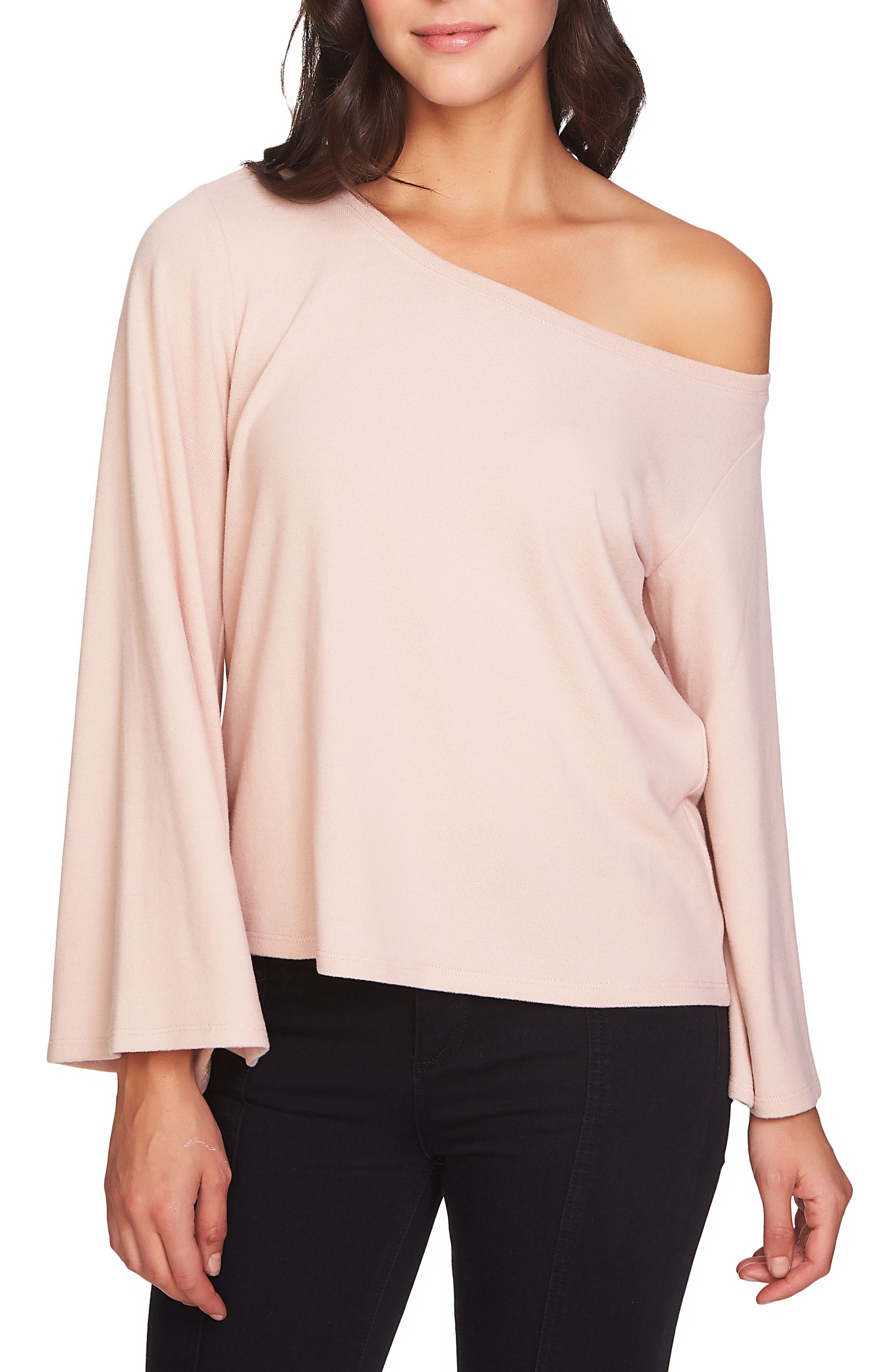1.STATE The Cozy Bell Sleeve One Shoulder Top