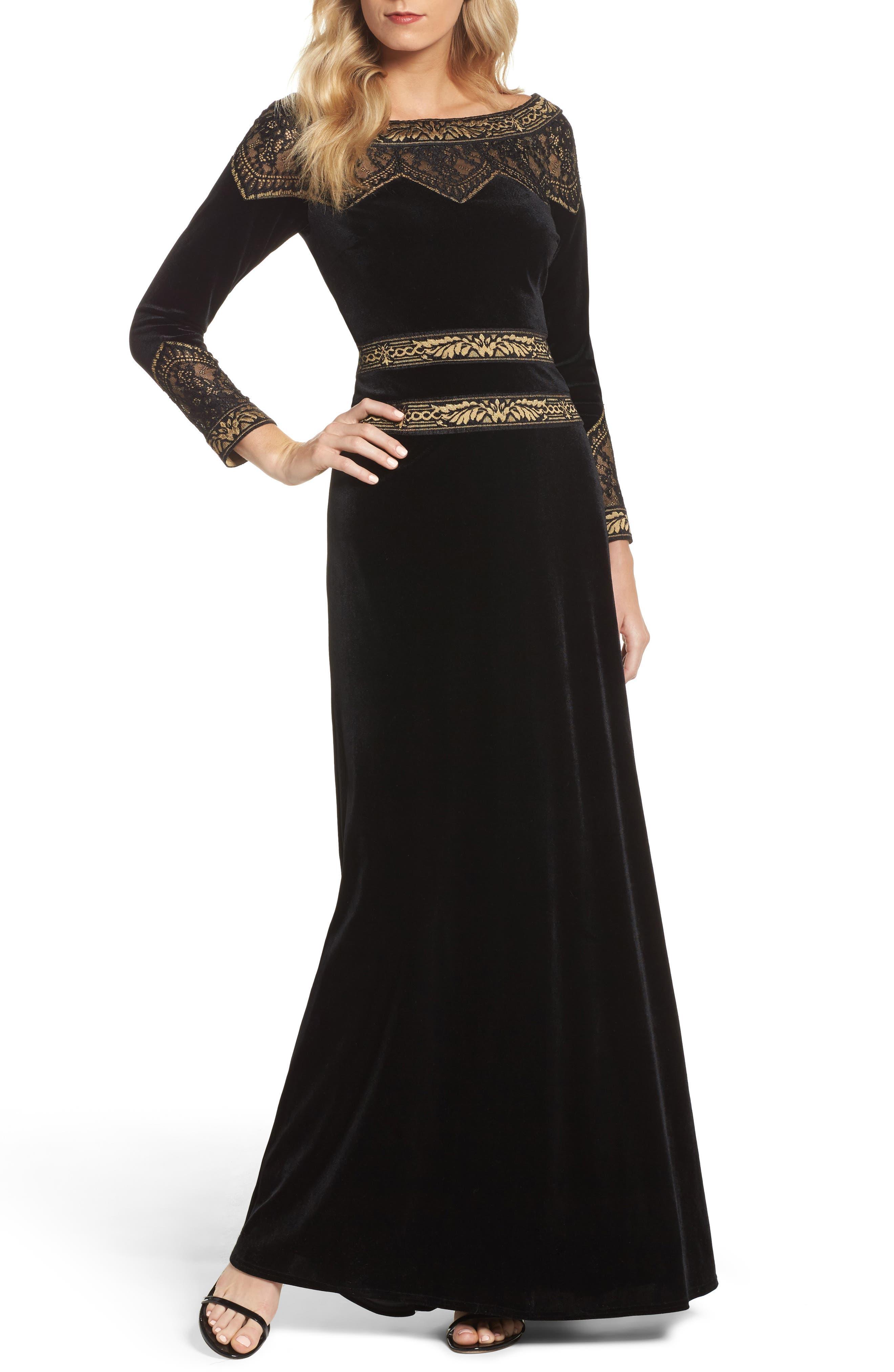 Lace Trim Velvet Gown,                             Main thumbnail 1, color,                             Black/ Gold