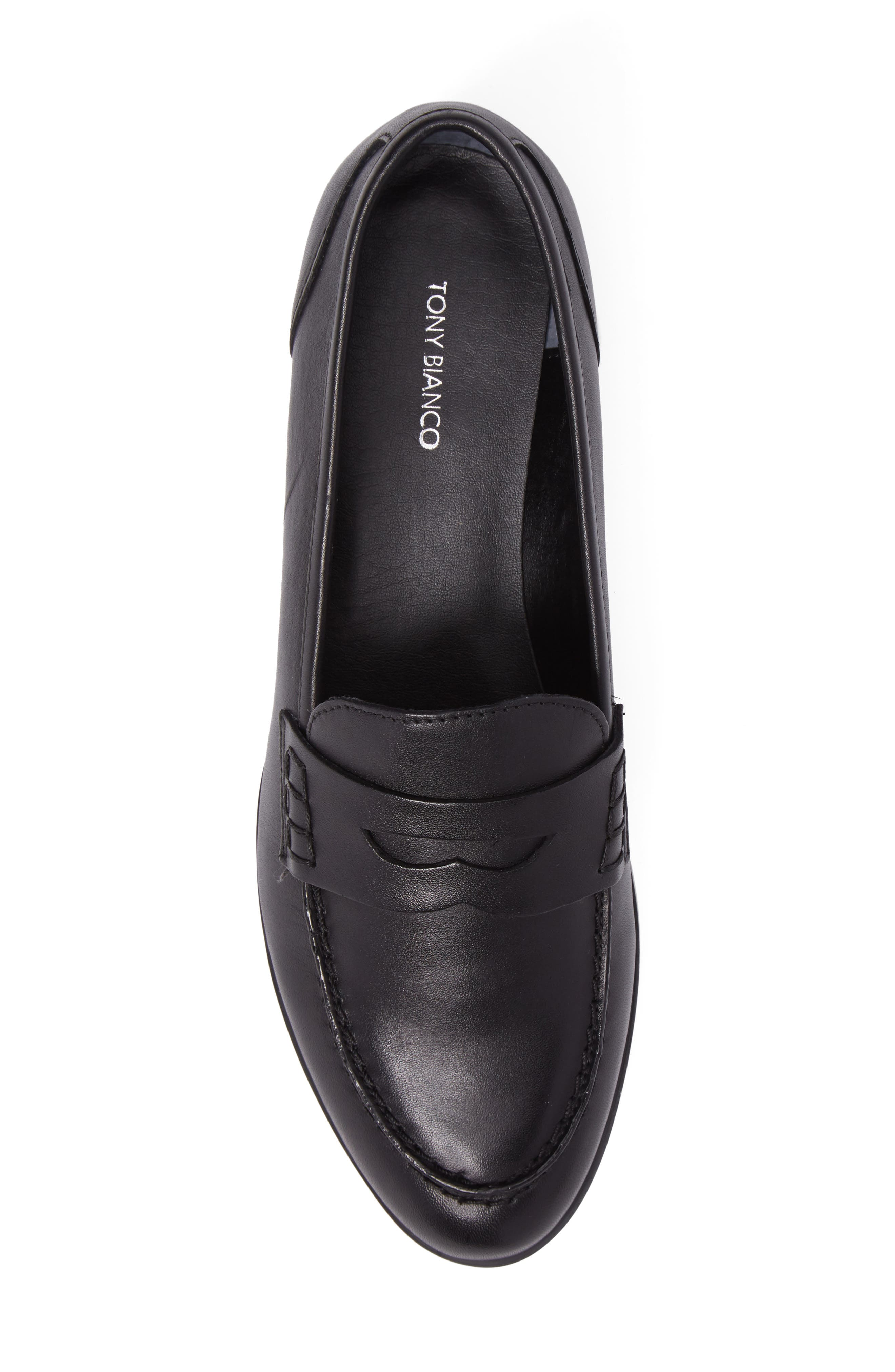 Georgie Penny Loafer,                             Alternate thumbnail 5, color,                             Black Leather