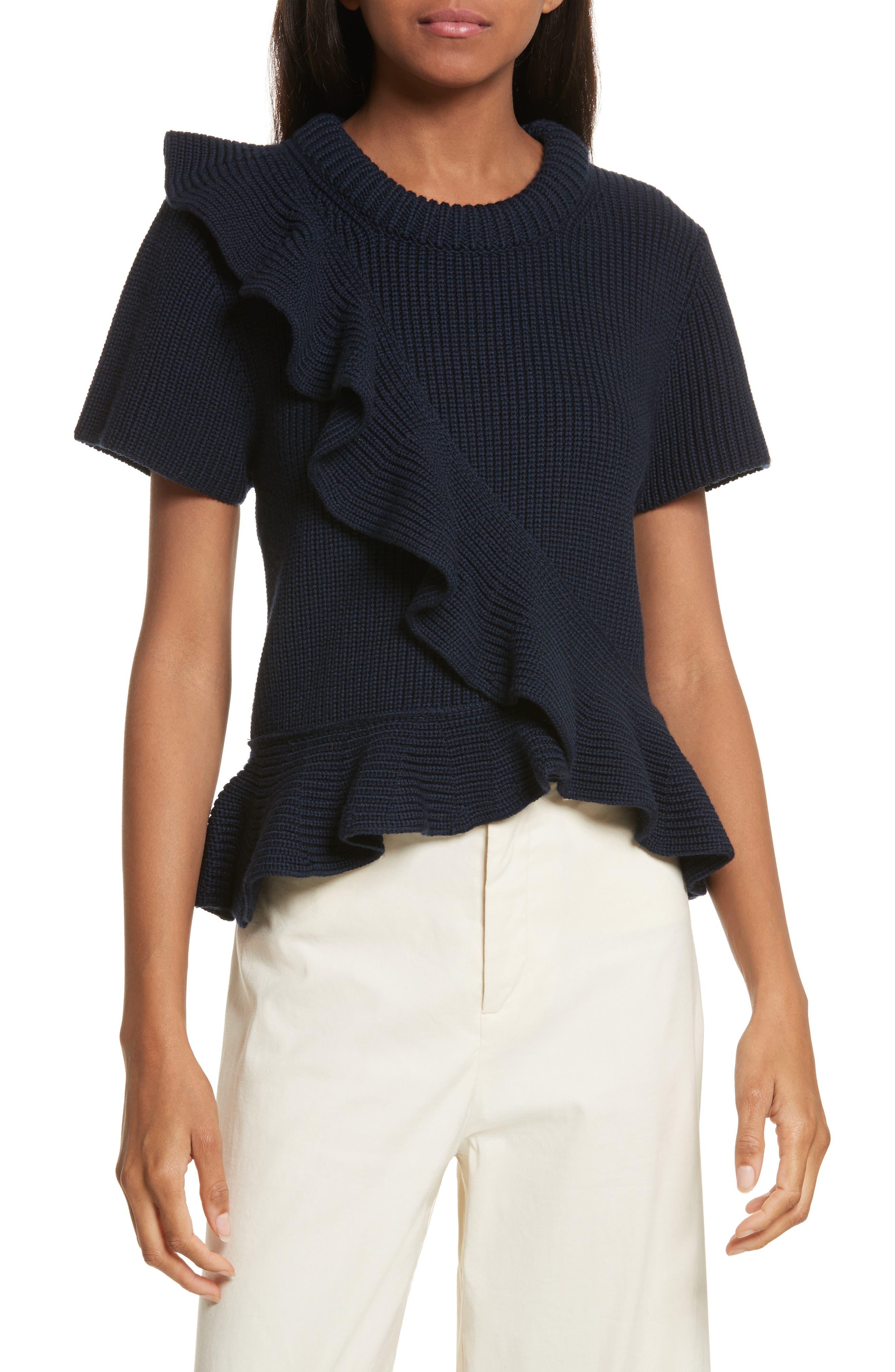 Ruffle Wool Sweater,                         Main,                         color, Navy