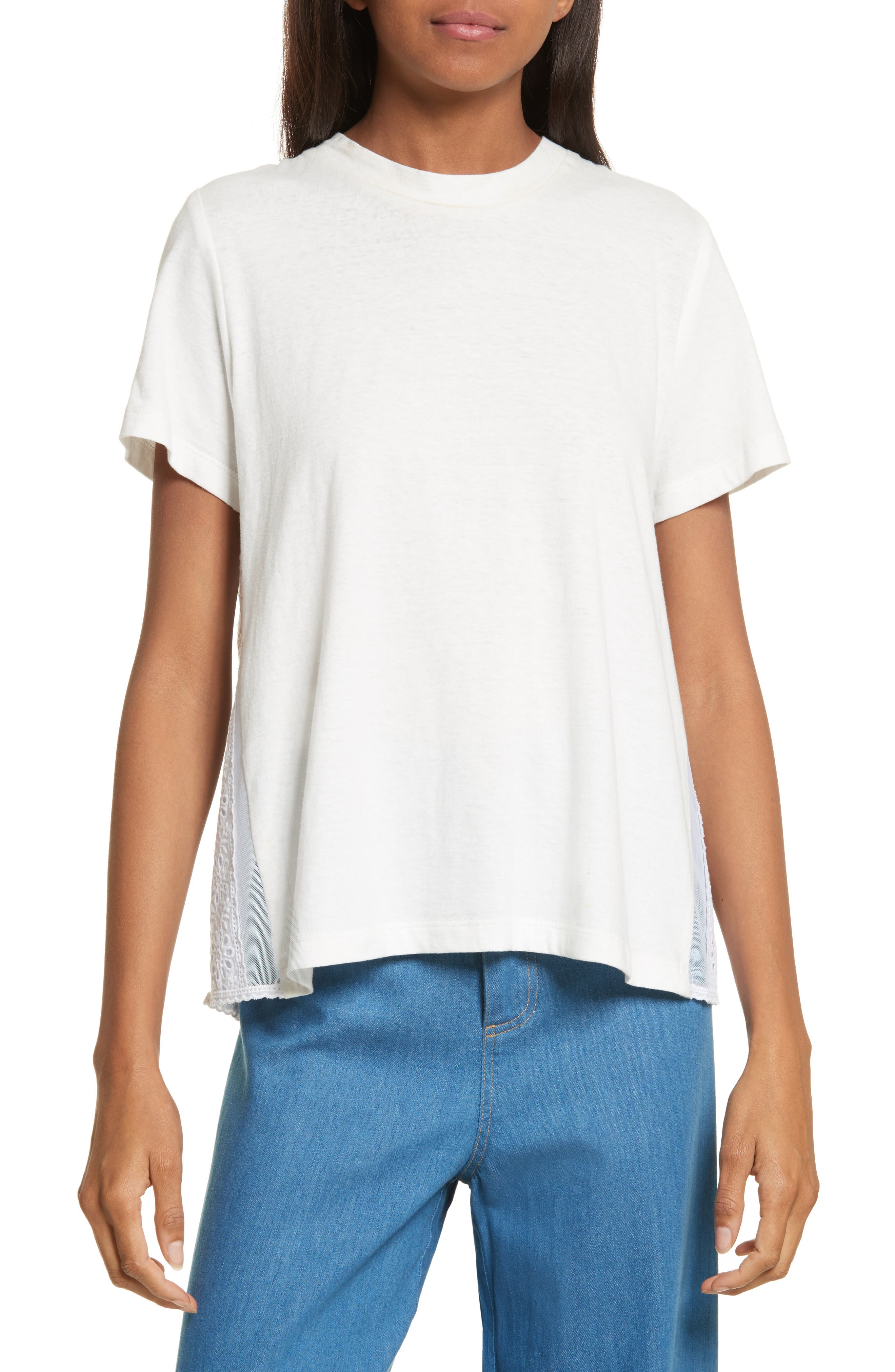 Luna Eyelet Accent Tee,                         Main,                         color, White With White Mesh