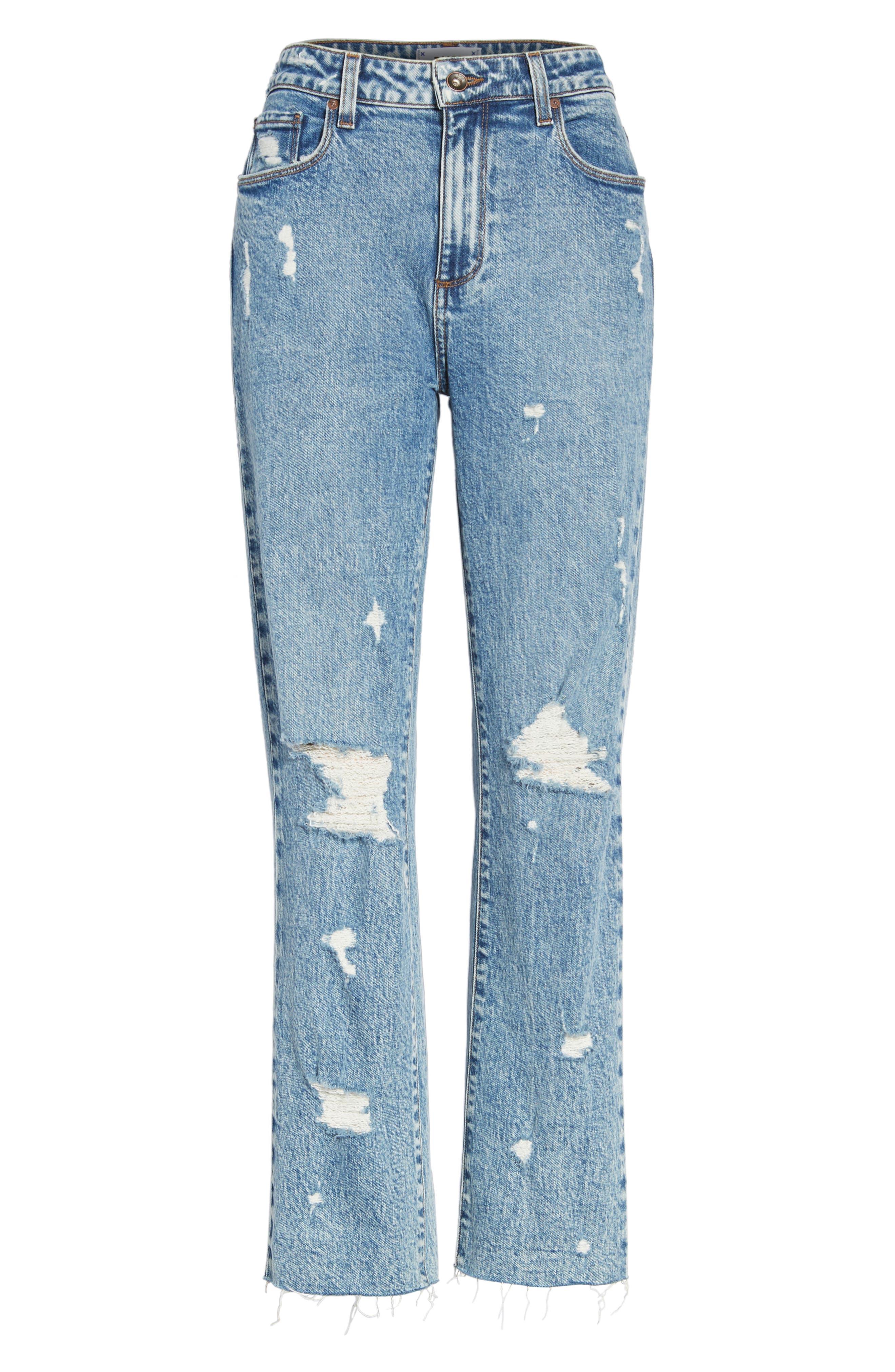 Noella Straight Leg Crop Jeans,                             Alternate thumbnail 7, color,                             Westlyn Destructed
