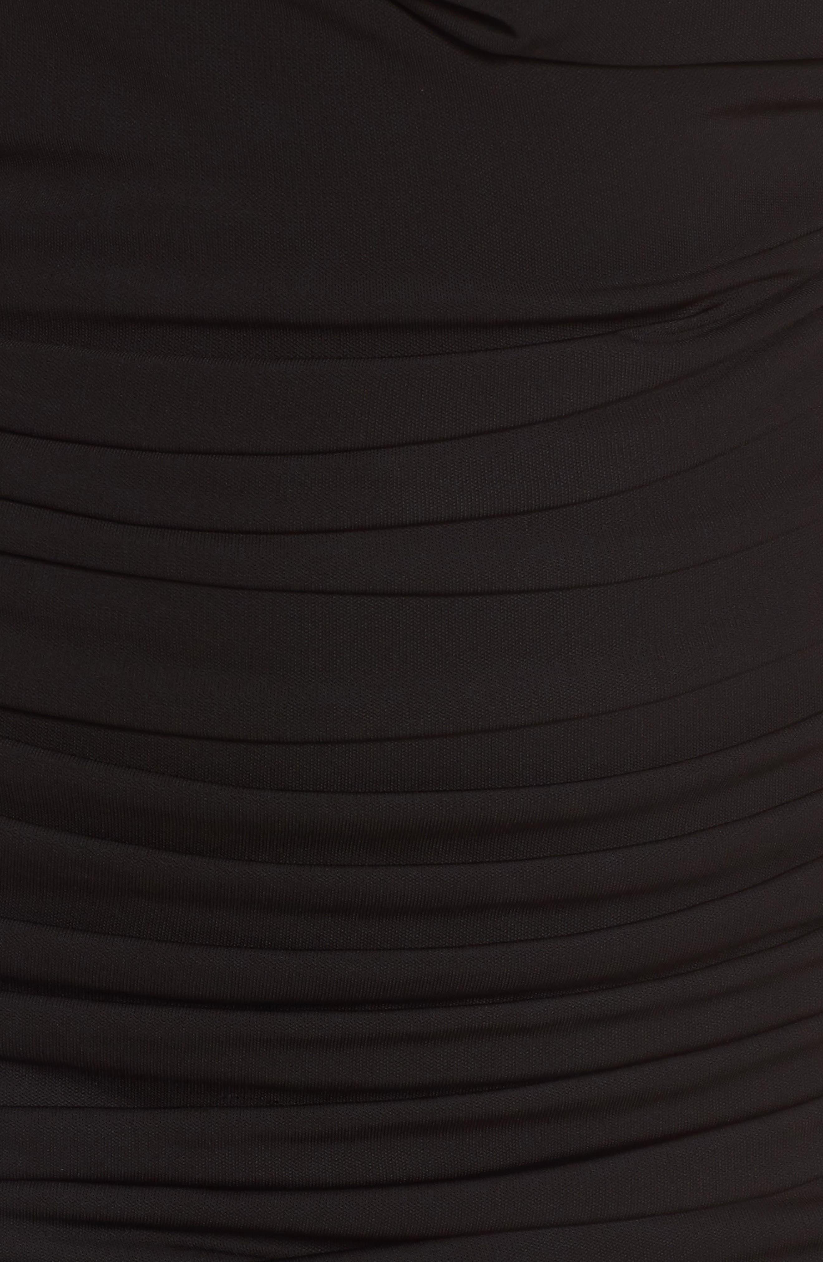 Off the Shoulder Twist Dress,                             Alternate thumbnail 5, color,                             Black