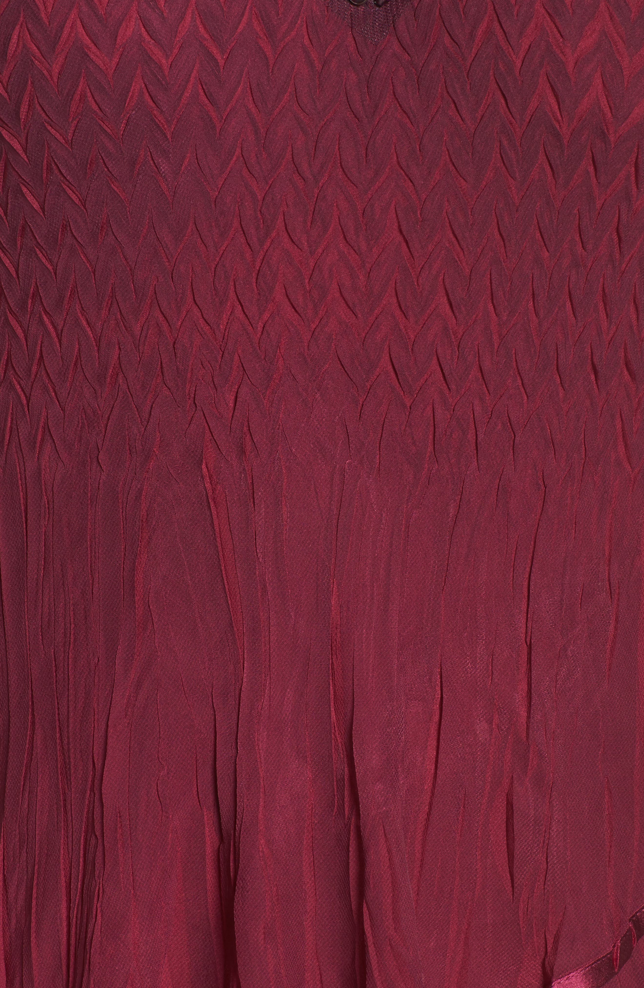 Tiered Ombré Charmeuse & Chiffon Dress,                             Alternate thumbnail 5, color,                             Red Plum Blue Ombre