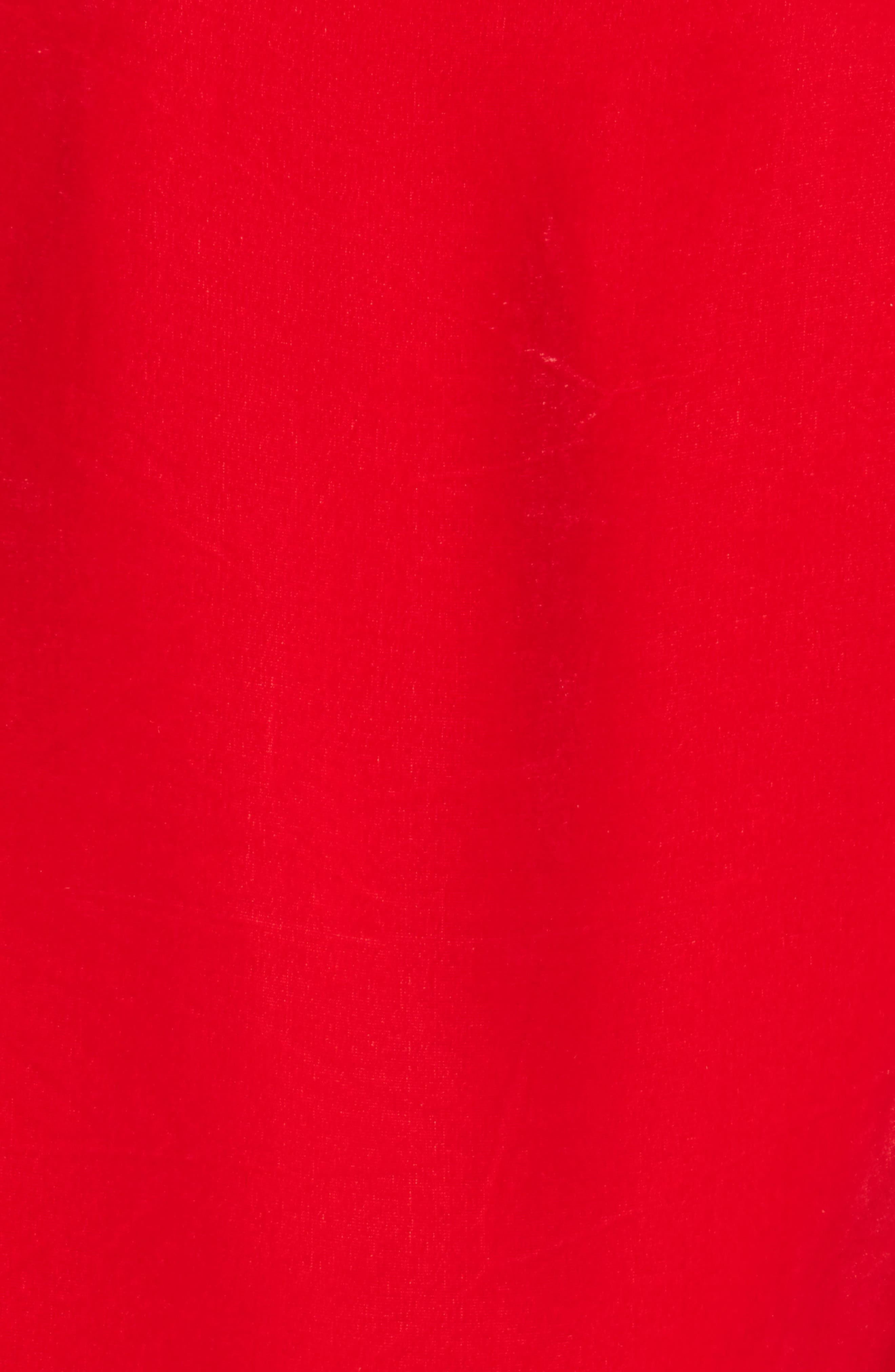 Drawstring Velvet Dress,                             Alternate thumbnail 5, color,                             Red