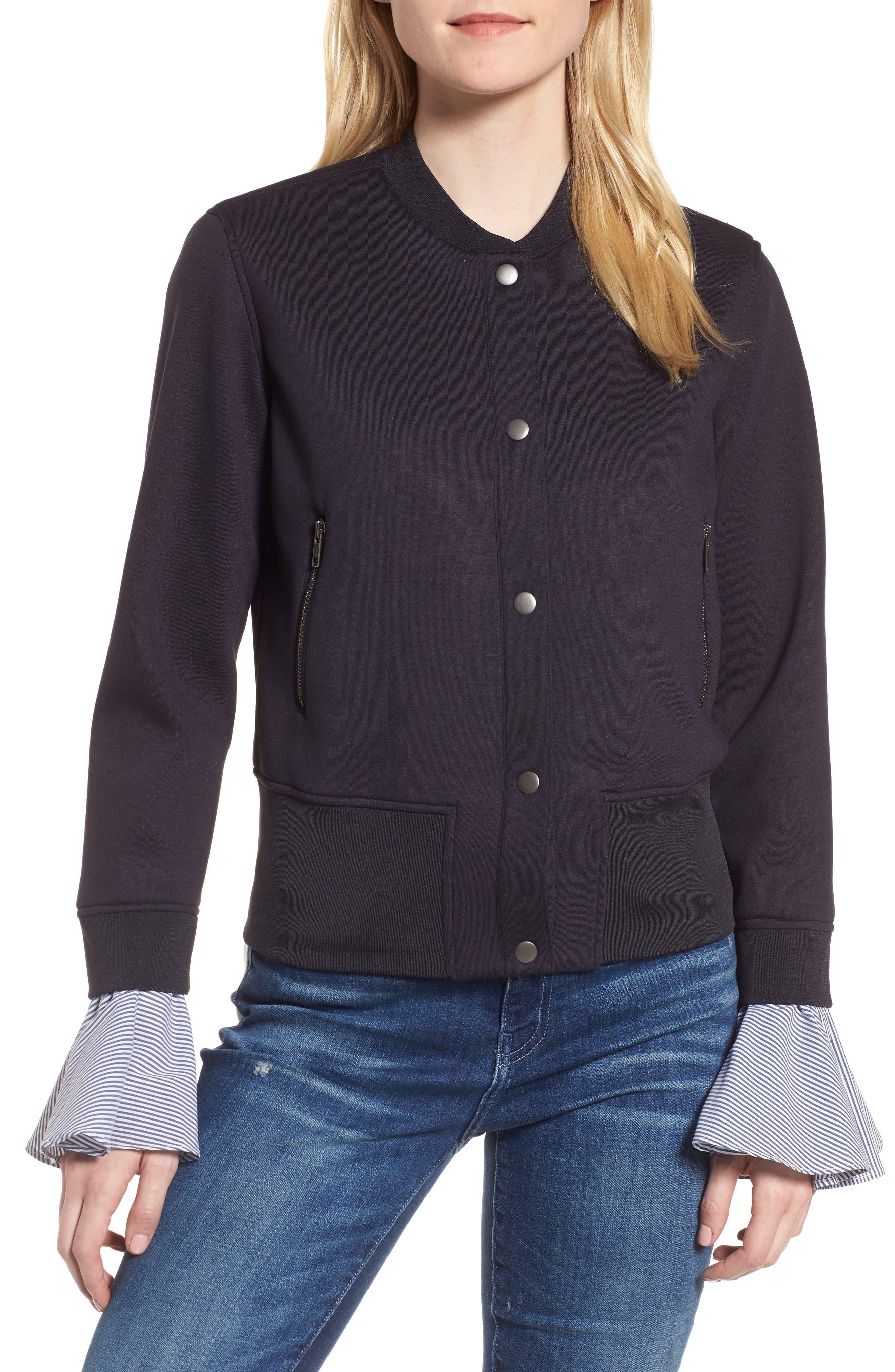 Ruffle Sleeve Jacket,                         Main,                         color, Navy Well