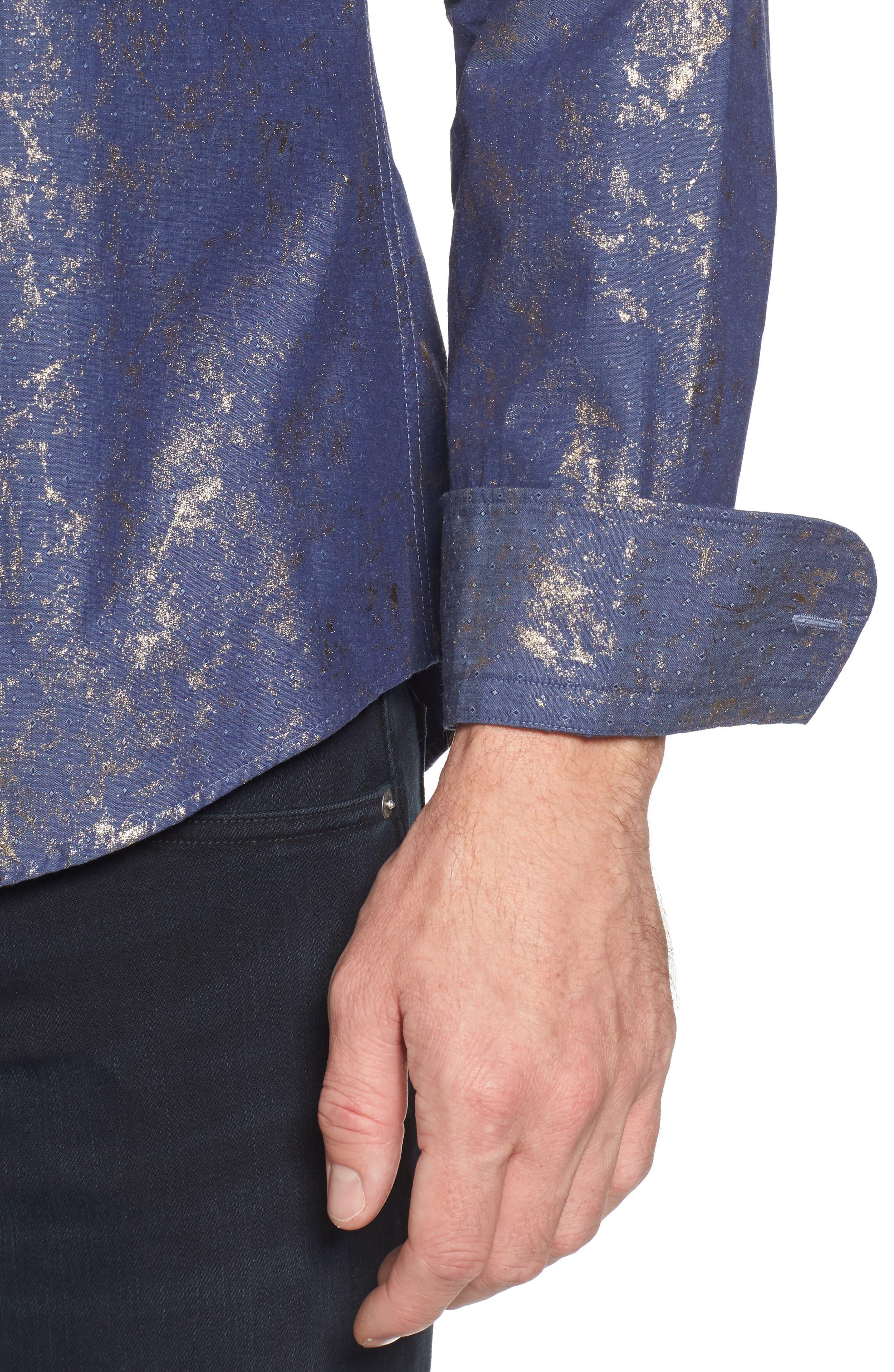Stardust Diamond Regular Fit Foil Print Sport Shirt,                             Alternate thumbnail 4, color,                             Indigo