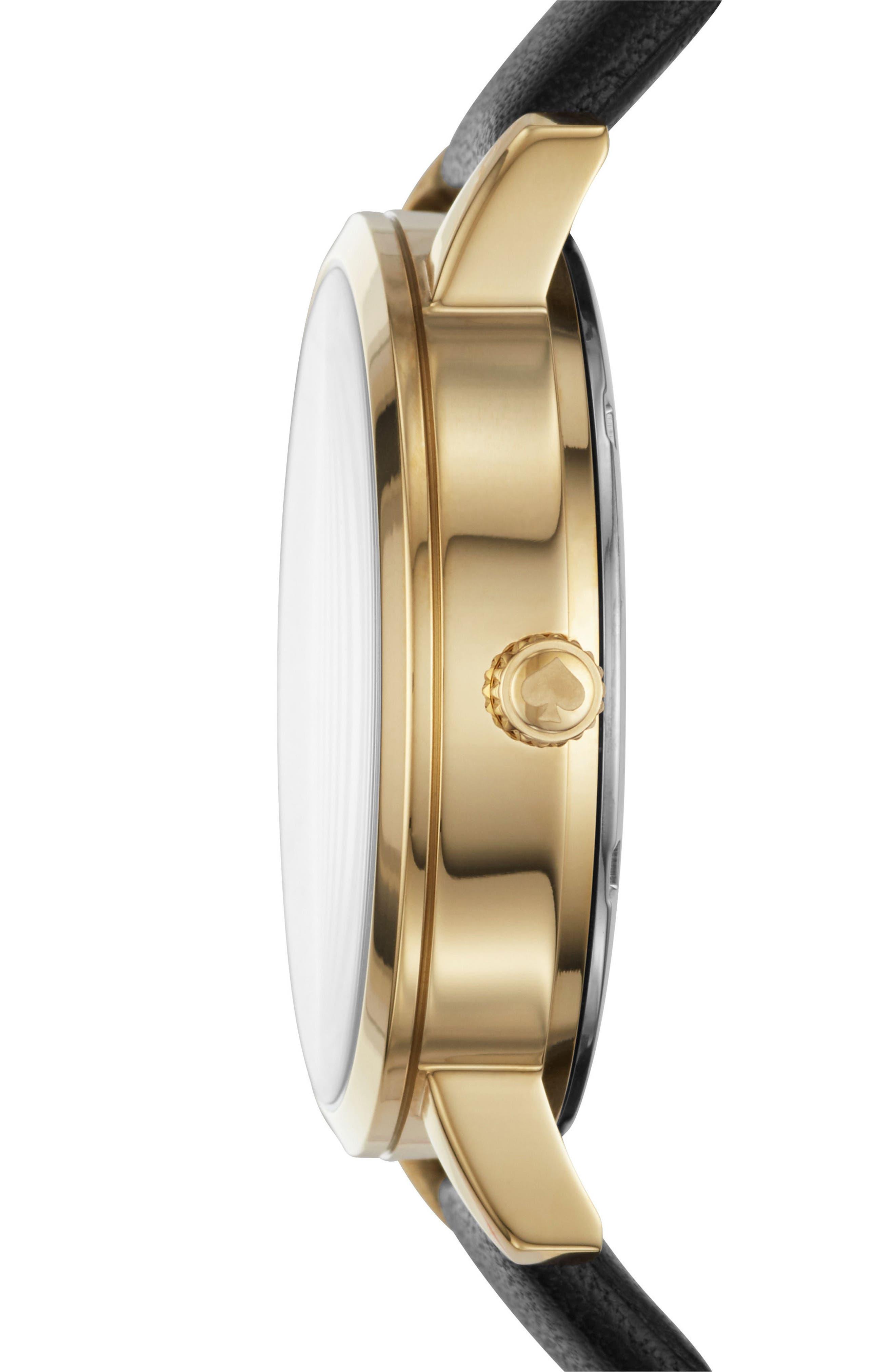 grand metro bulldog leather strap watch, 38mm,                             Alternate thumbnail 2, color,                             Black/ Gold