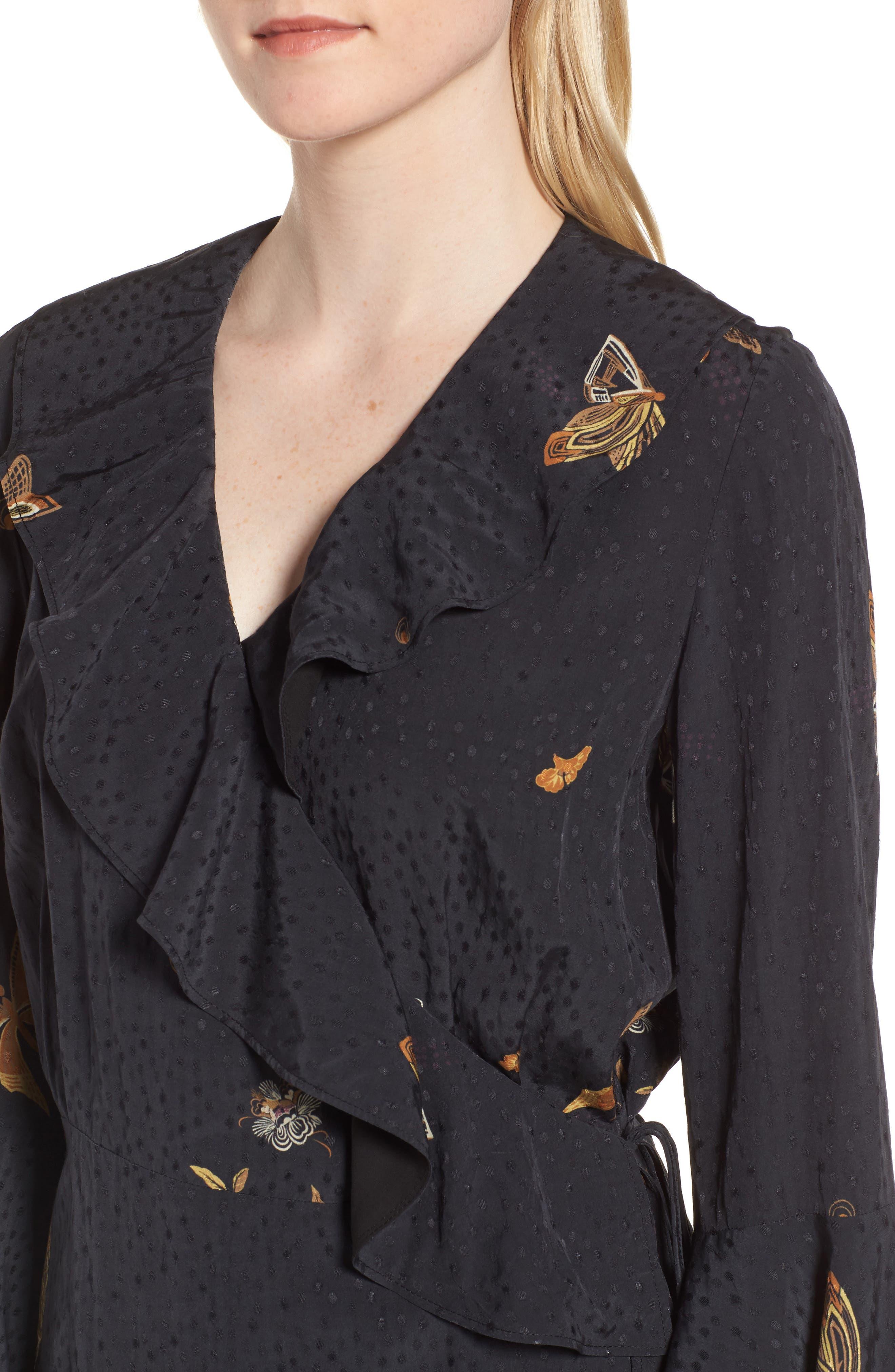 Jacquard Midi Wrap Dress,                             Alternate thumbnail 4, color,                             Black Decorative Scenery Print