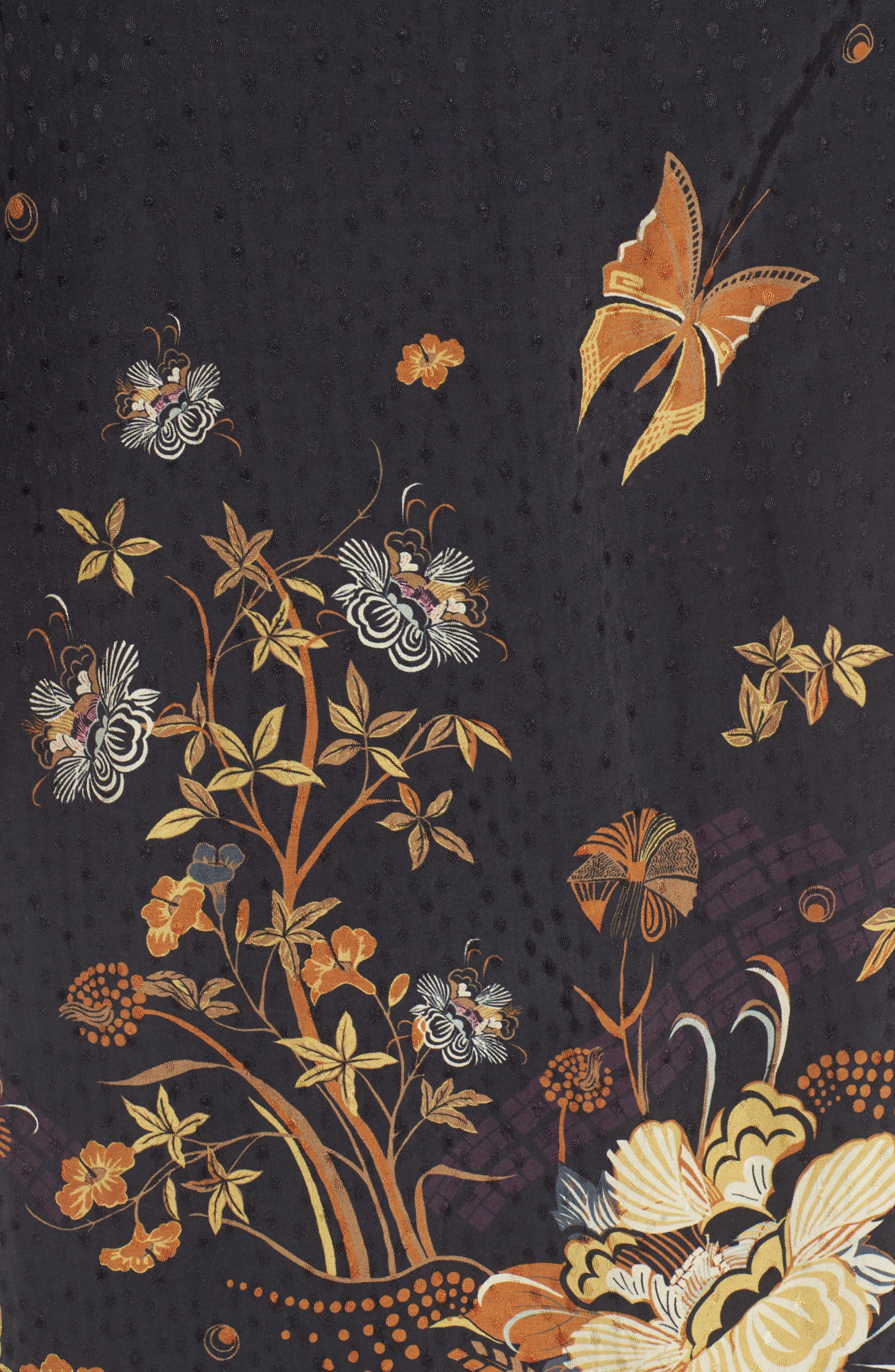 Jacquard Midi Wrap Dress,                             Alternate thumbnail 5, color,                             Black Decorative Scenery Print