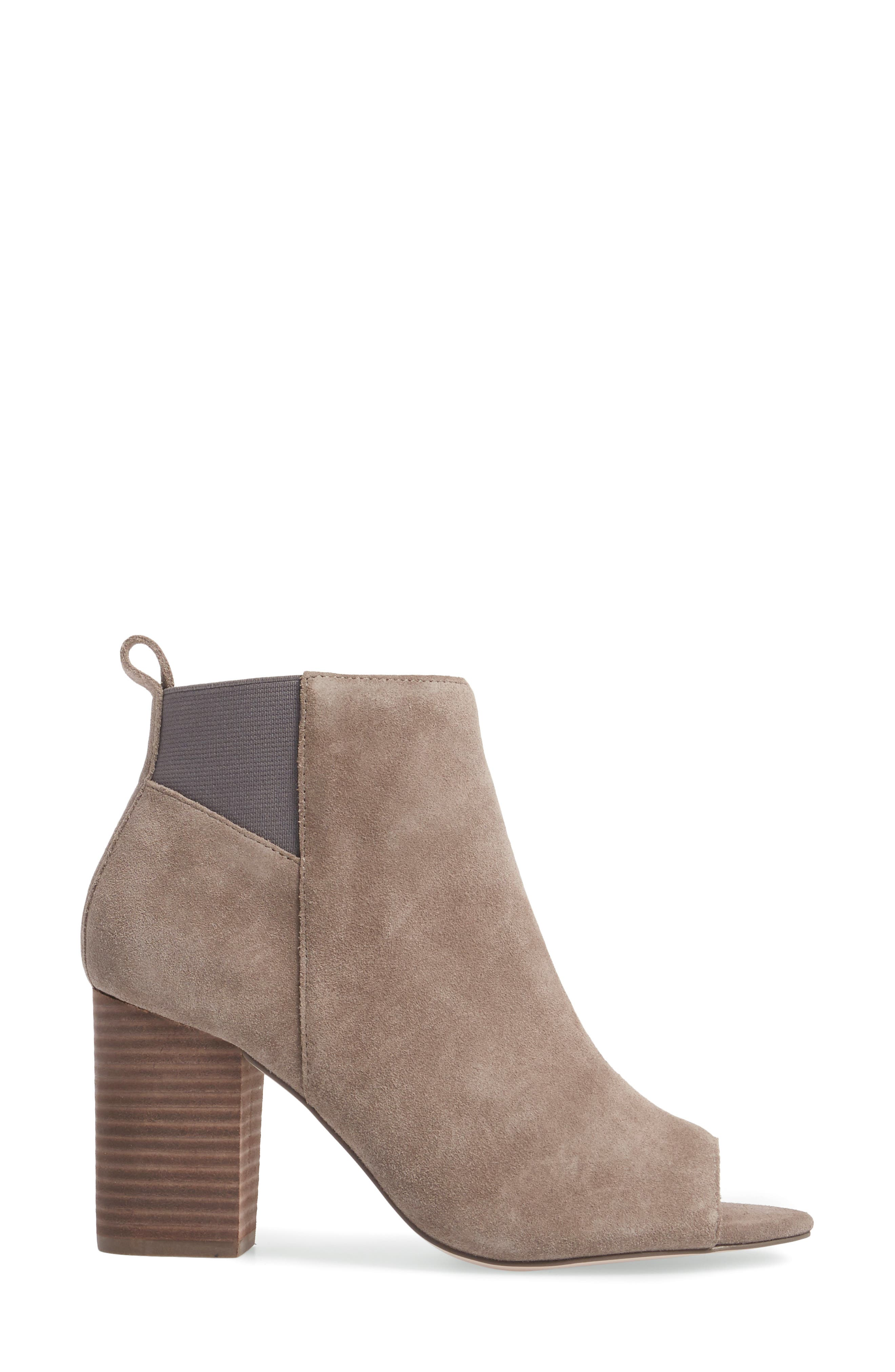 Vita Peep Toe Bootie,                             Alternate thumbnail 3, color,                             Mushroom Suede
