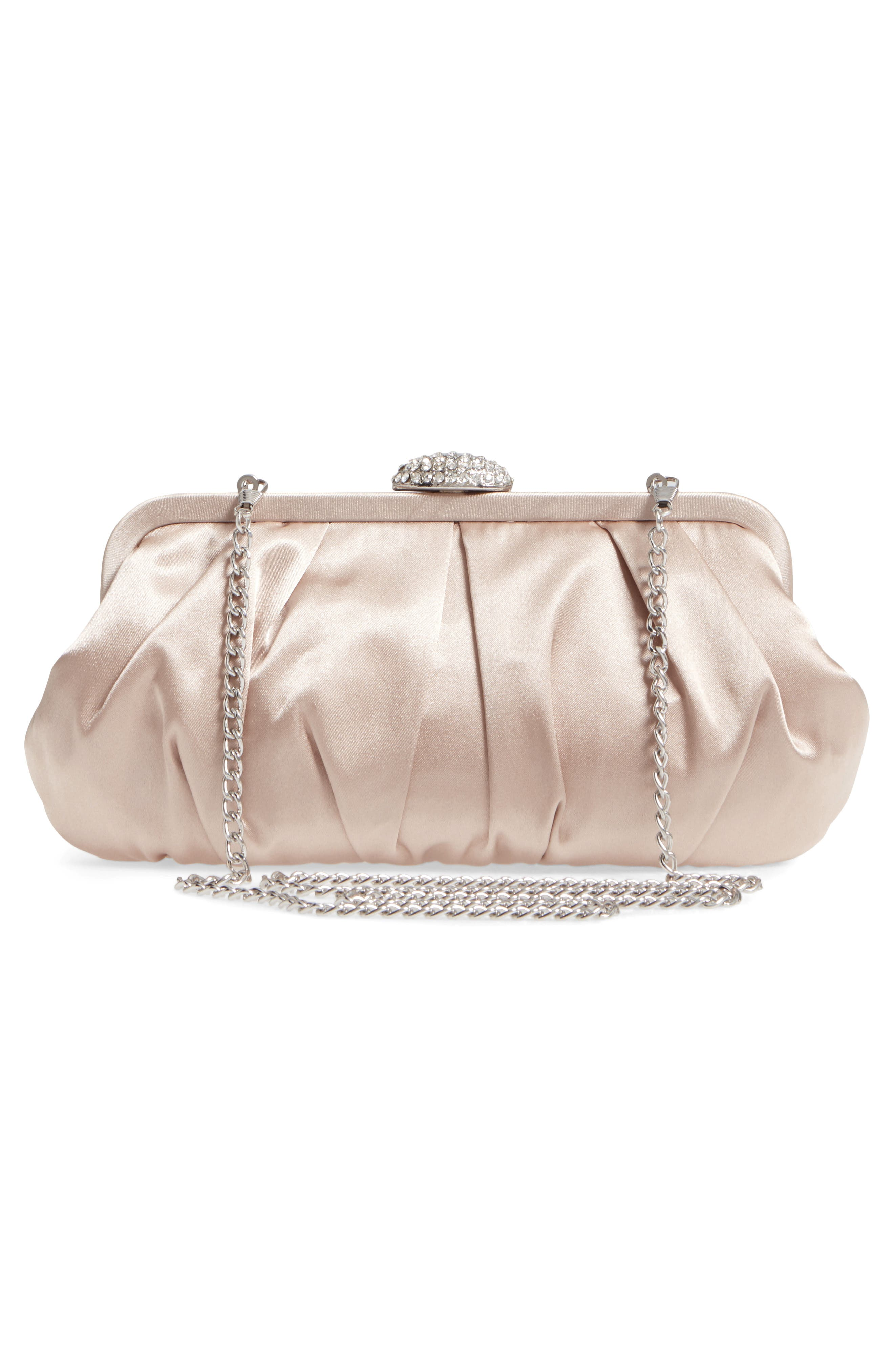 Concord Pleated Satin Frame Clutch,                             Alternate thumbnail 3, color,                             Champagne