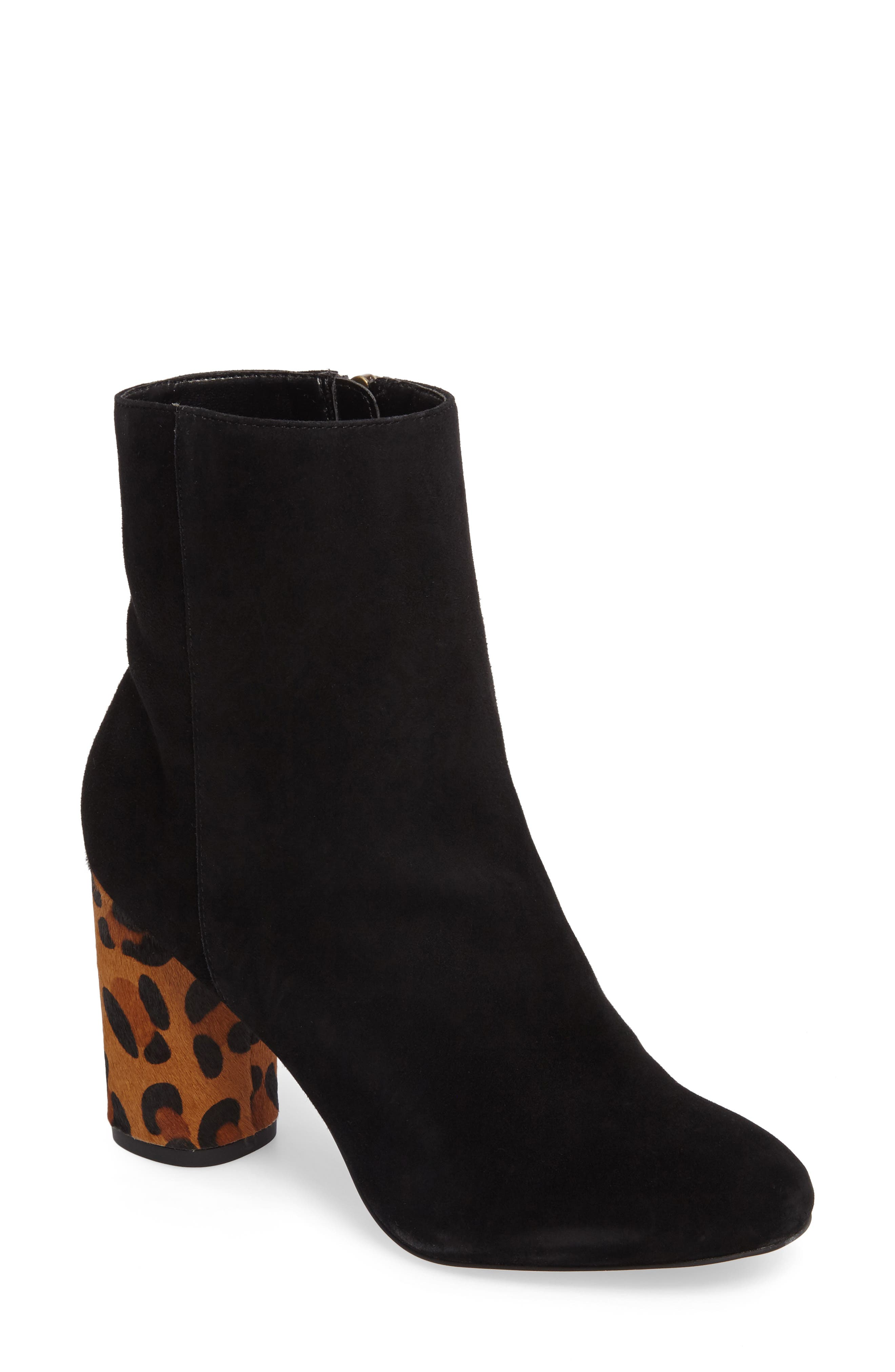 Mulholland Embroidered Boot,                         Main,                         color, Black With Leopard Heel